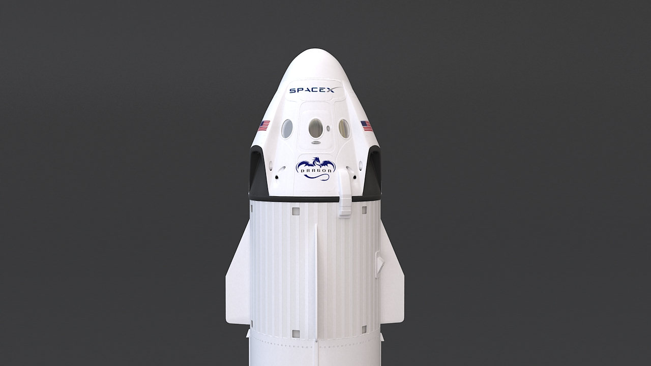 falcon 9 and dragon-v2 space craft 3d model max 219799