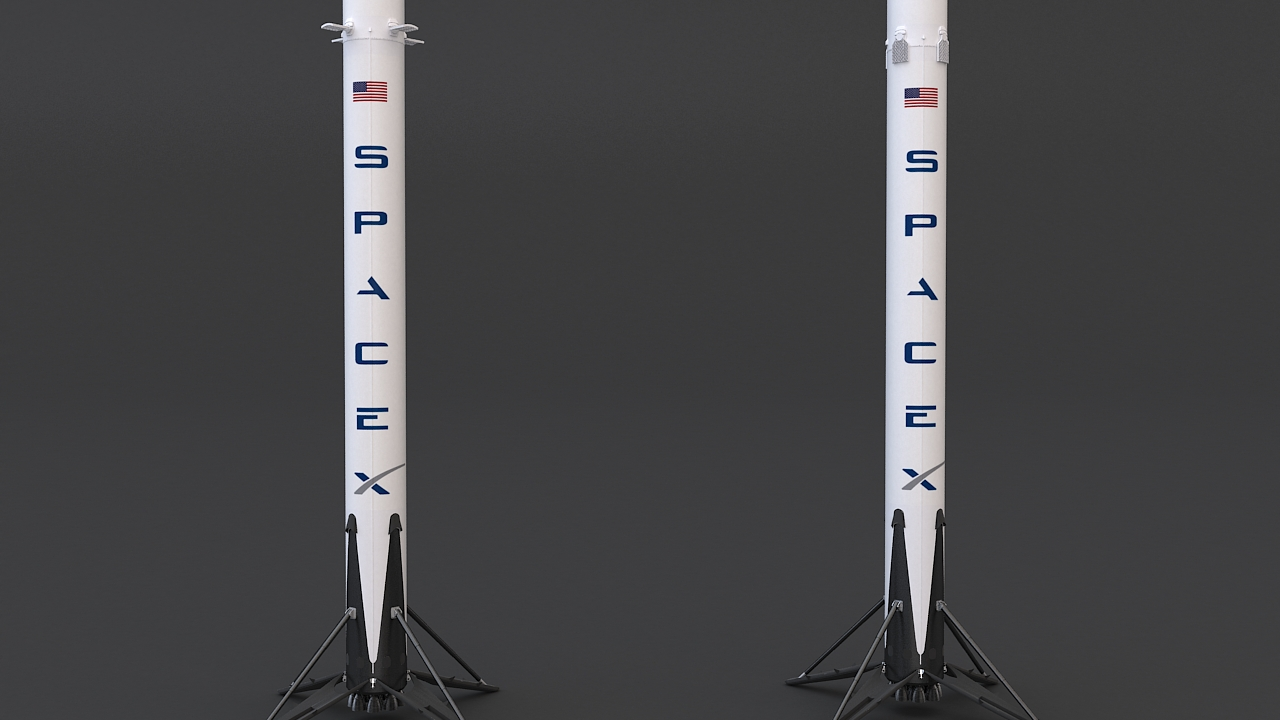 falcon 9 and dragon-v2 space craft 3d model max 219801