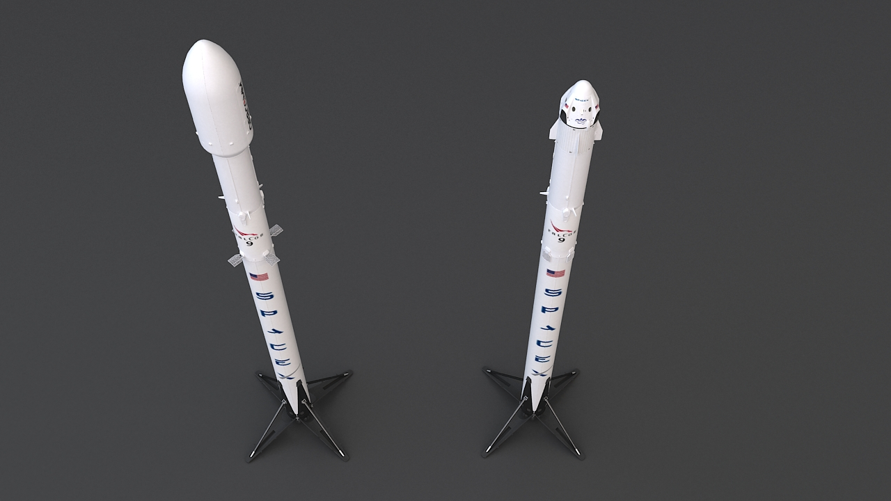 falcon 9 and dragon-v2 space craft 3d model max 219803