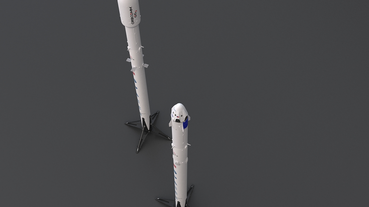 falcon 9 and dragon-v2 space craft 3d model max 219804