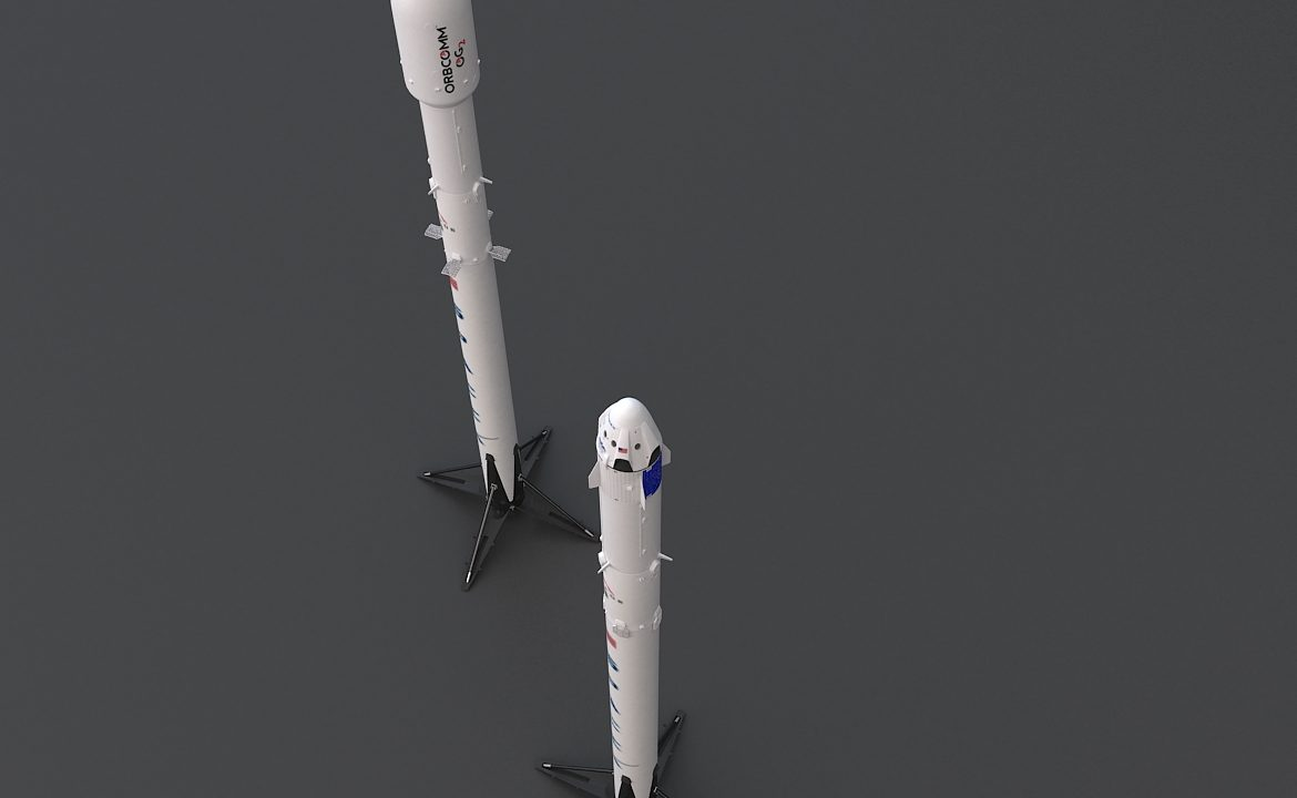 Falcon 9 and  DRAGON-V2  Space Craft 3d model max