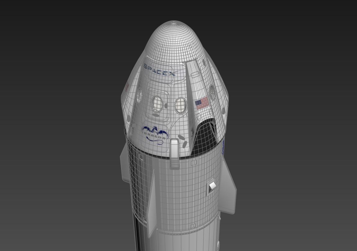 falcon 9 and dragon-v2 space craft 3d model max 219807