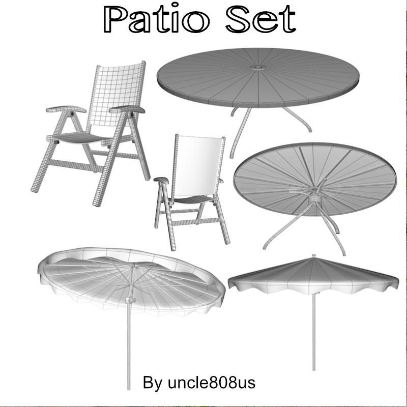patio set fbx obj 3d model fbx 219865