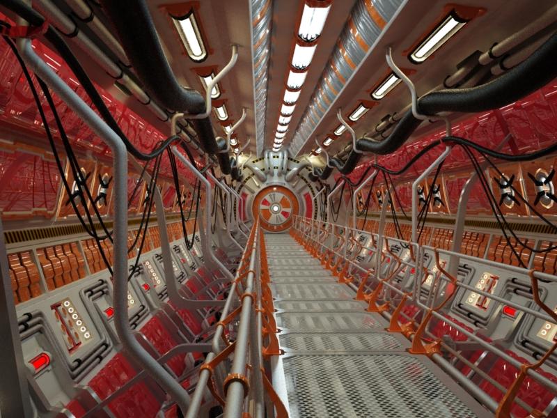 sci fi tunnel 3d model 3ds max fbx obj 220031