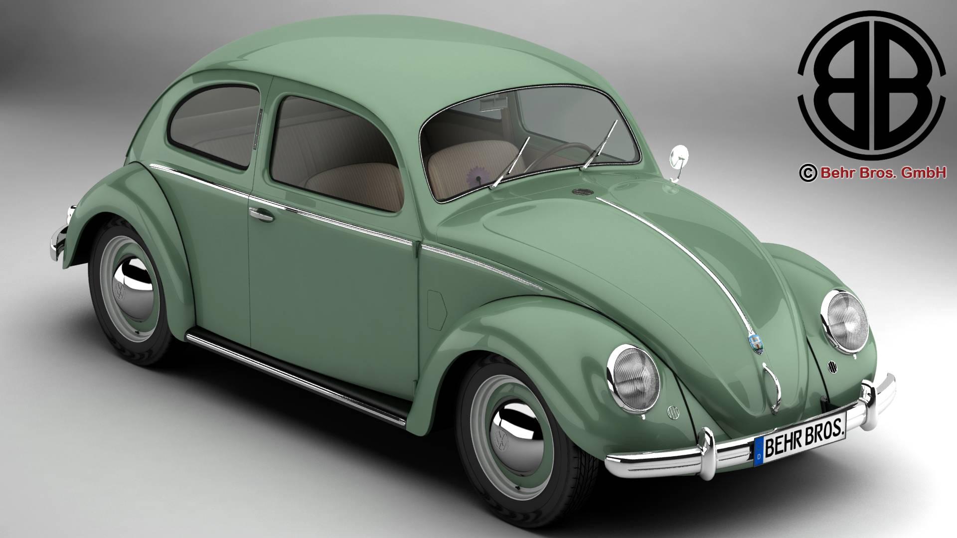 volkswagen beetle 1951 deluxe 3d model 3ds max fbx c4d lwo ma mb obj 220134