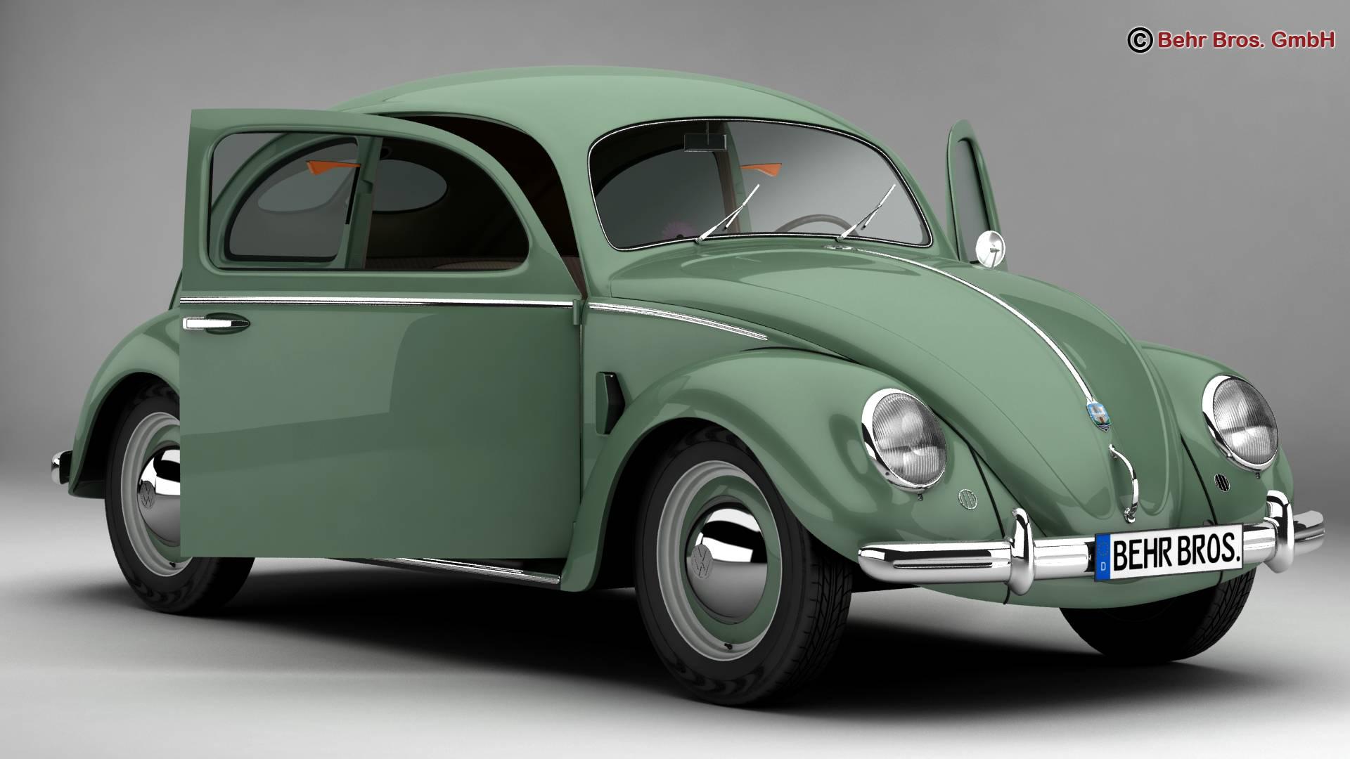volkswagen beetle 1951 deluxe 3d model 3ds max fbx c4d lwo ma mb obj 220136