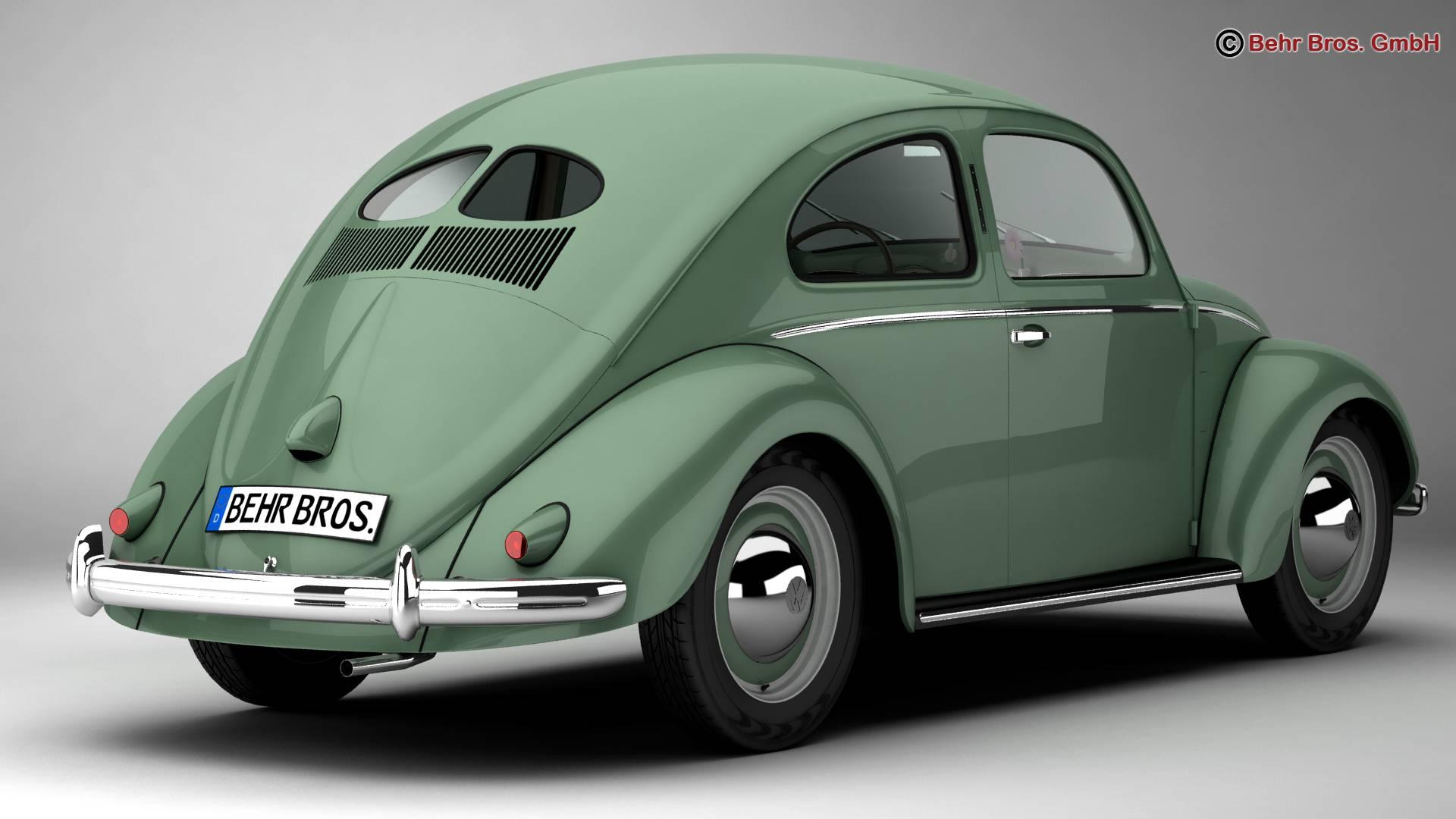 volkswagen beetle 1951 deluxe 3d model 3ds max fbx c4d lwo ma mb obj 220137