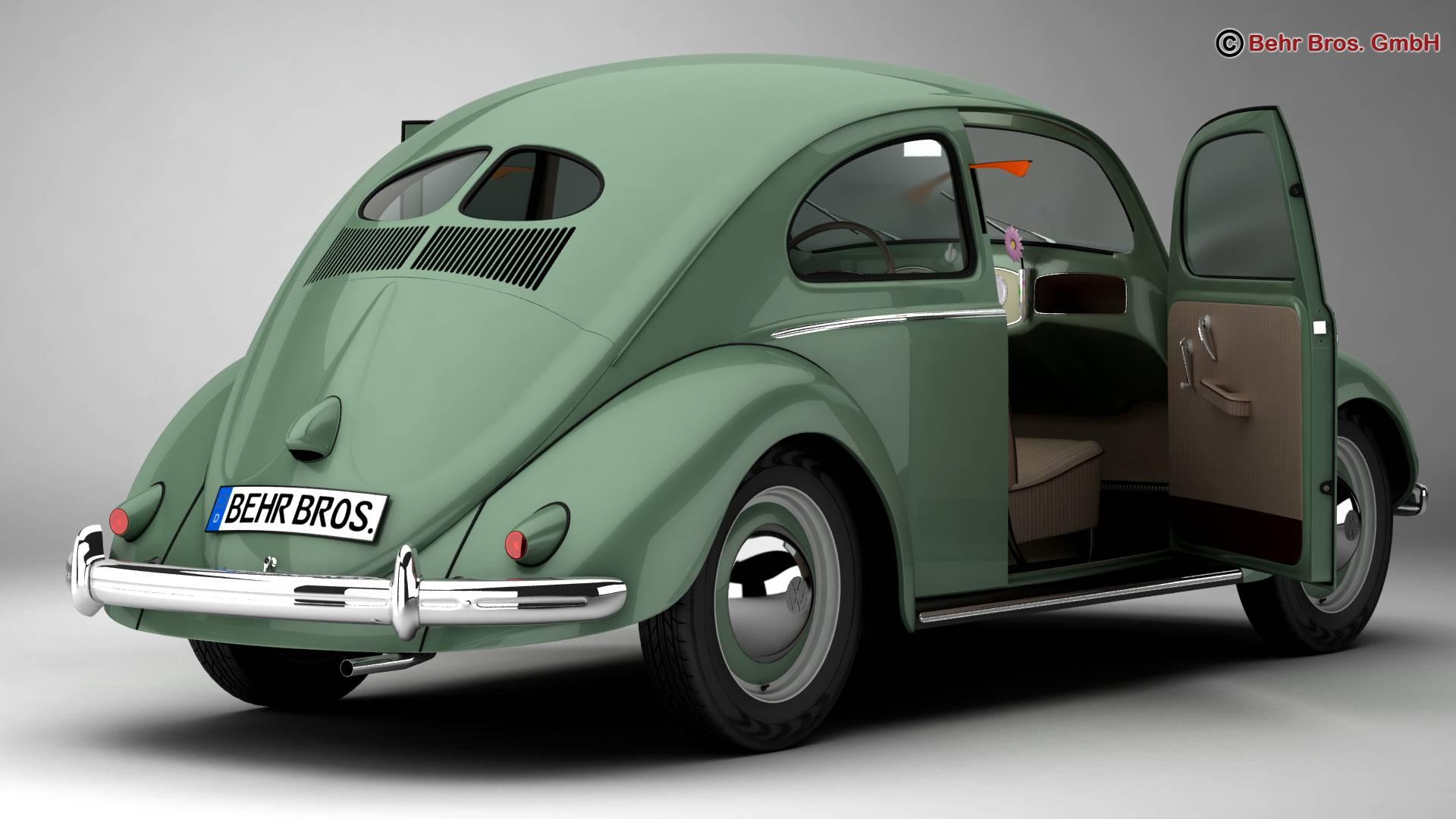 volkswagen beetle 1951 deluxe 3d model 3ds max fbx c4d lwo ma mb obj 220138