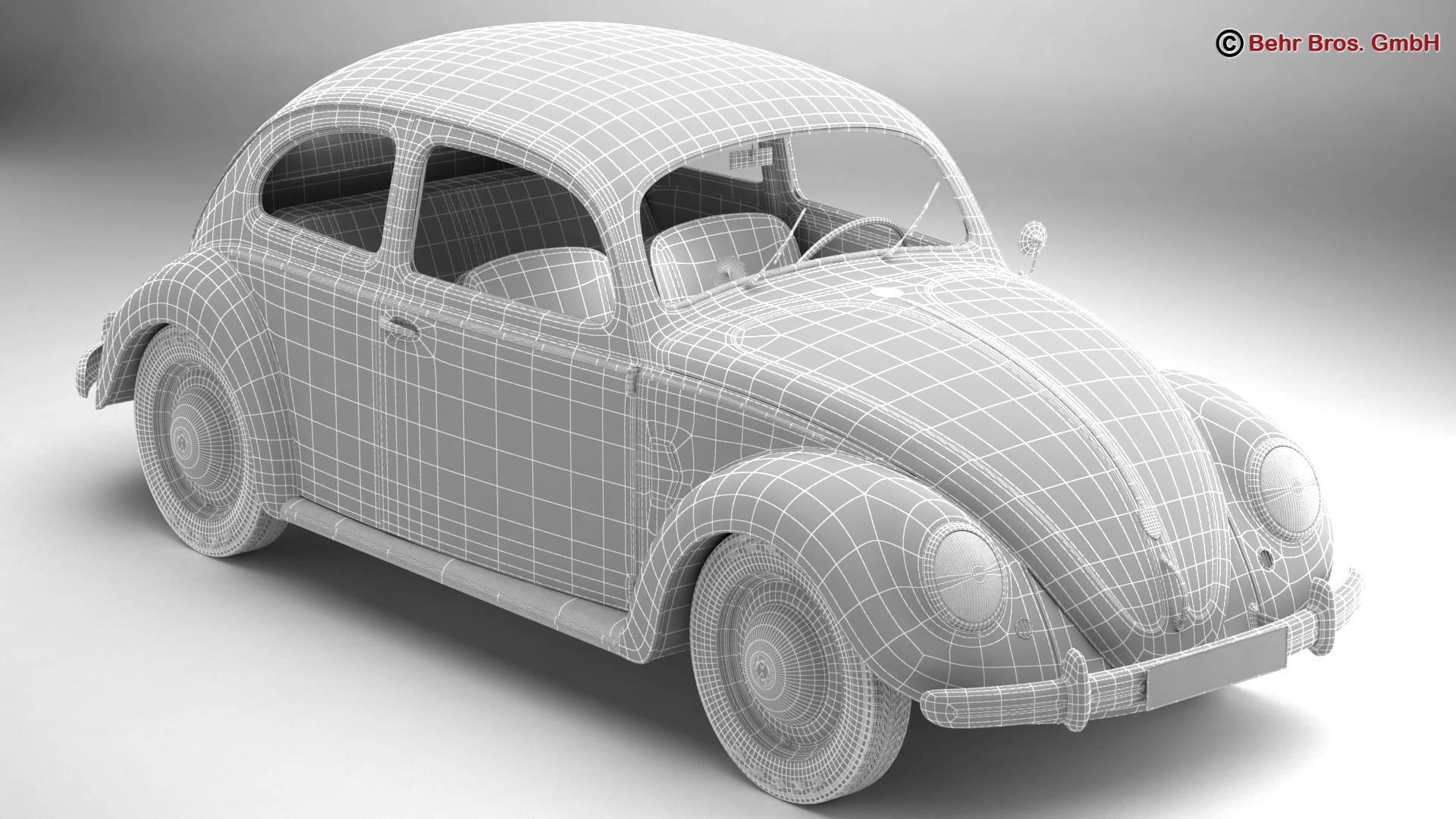 volkswagen beetle 1951 deluxe 3d model 3ds max fbx c4d lwo ma mb obj 220149