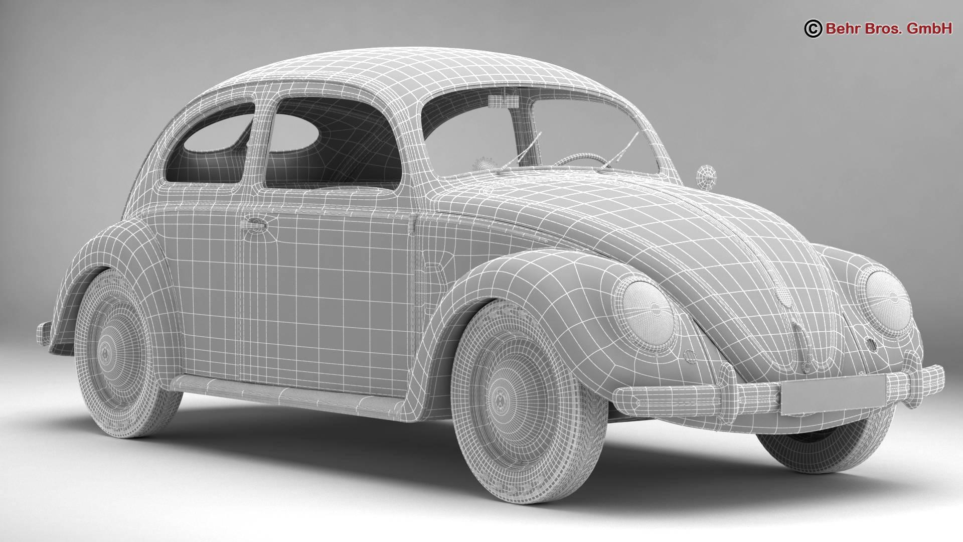 volkswagen beetle 1951 deluxe 3d model 3ds max fbx c4d lwo ma mb obj 220150