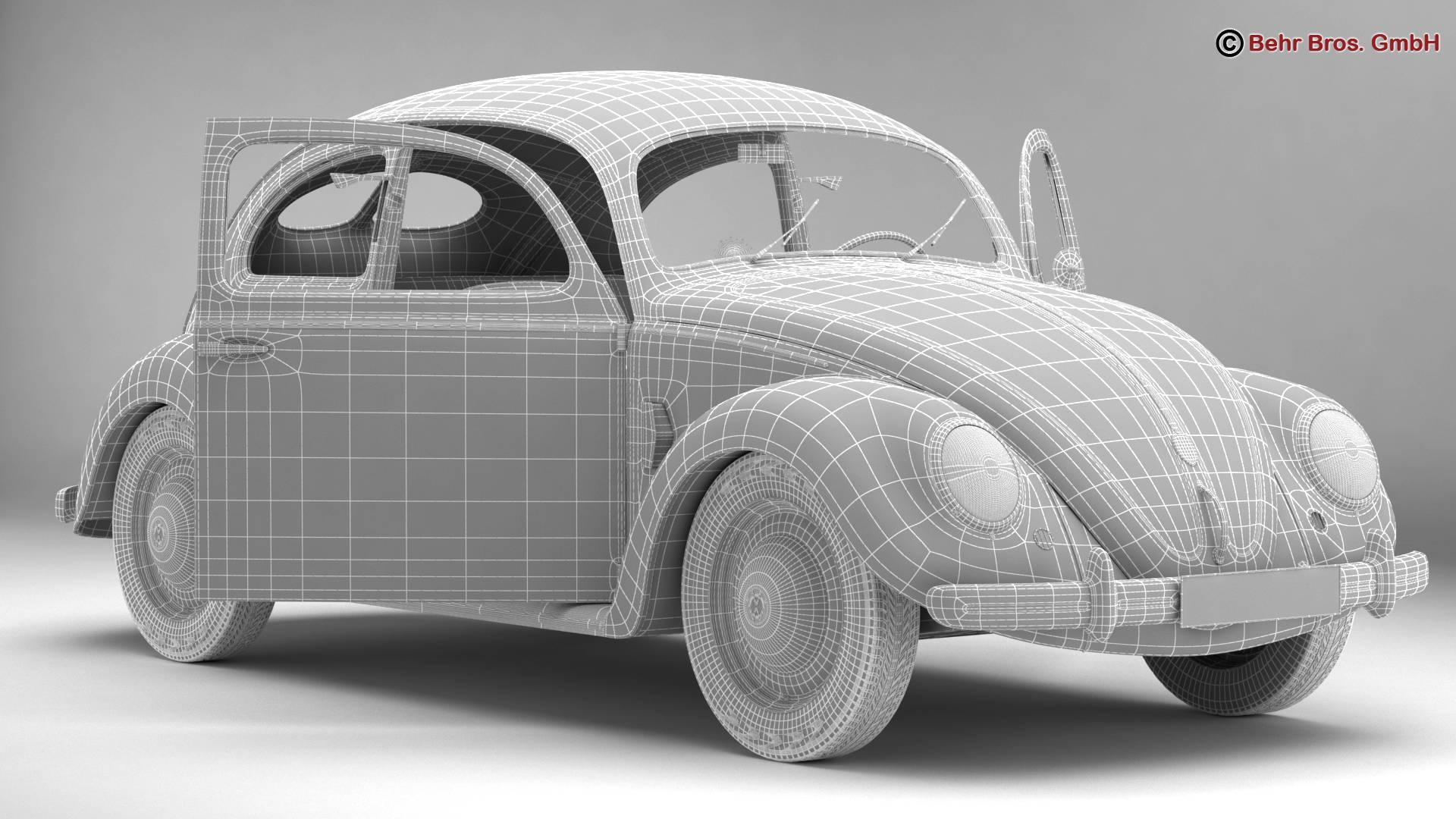 volkswagen beetle 1951 deluxe 3d model 3ds max fbx c4d lwo ma mb obj 220151