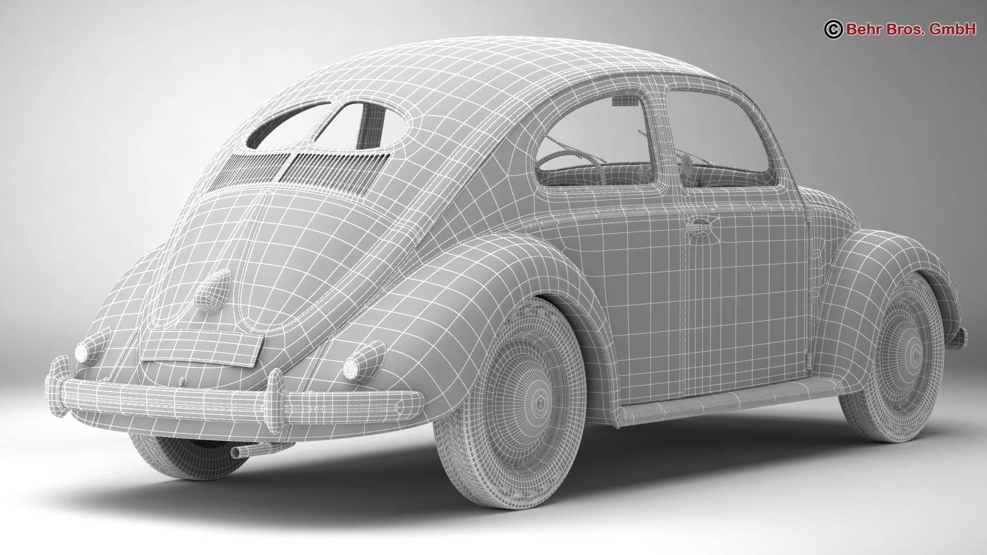 volkswagen beetle 1951 deluxe 3d model 3ds max fbx c4d lwo ma mb obj 220152