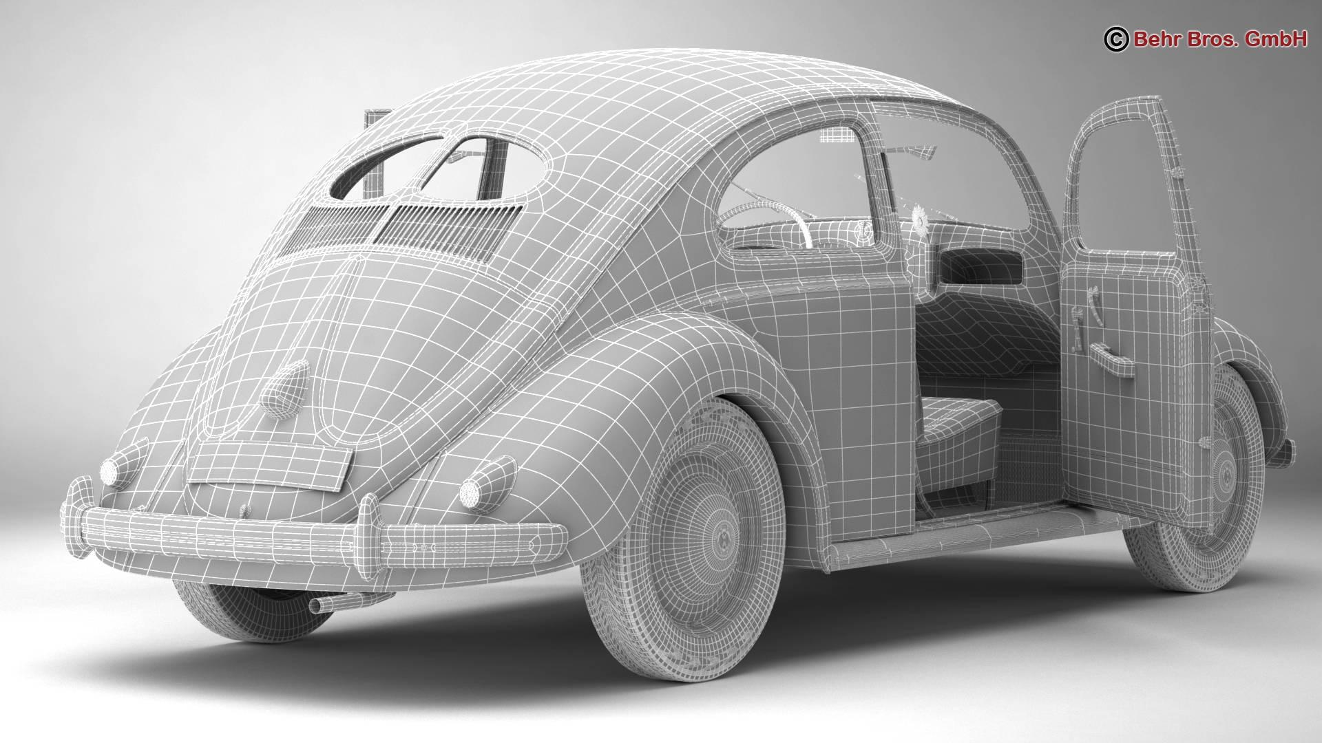 volkswagen beetle 1951 deluxe 3d model 3ds max fbx c4d lwo ma mb obj 220153