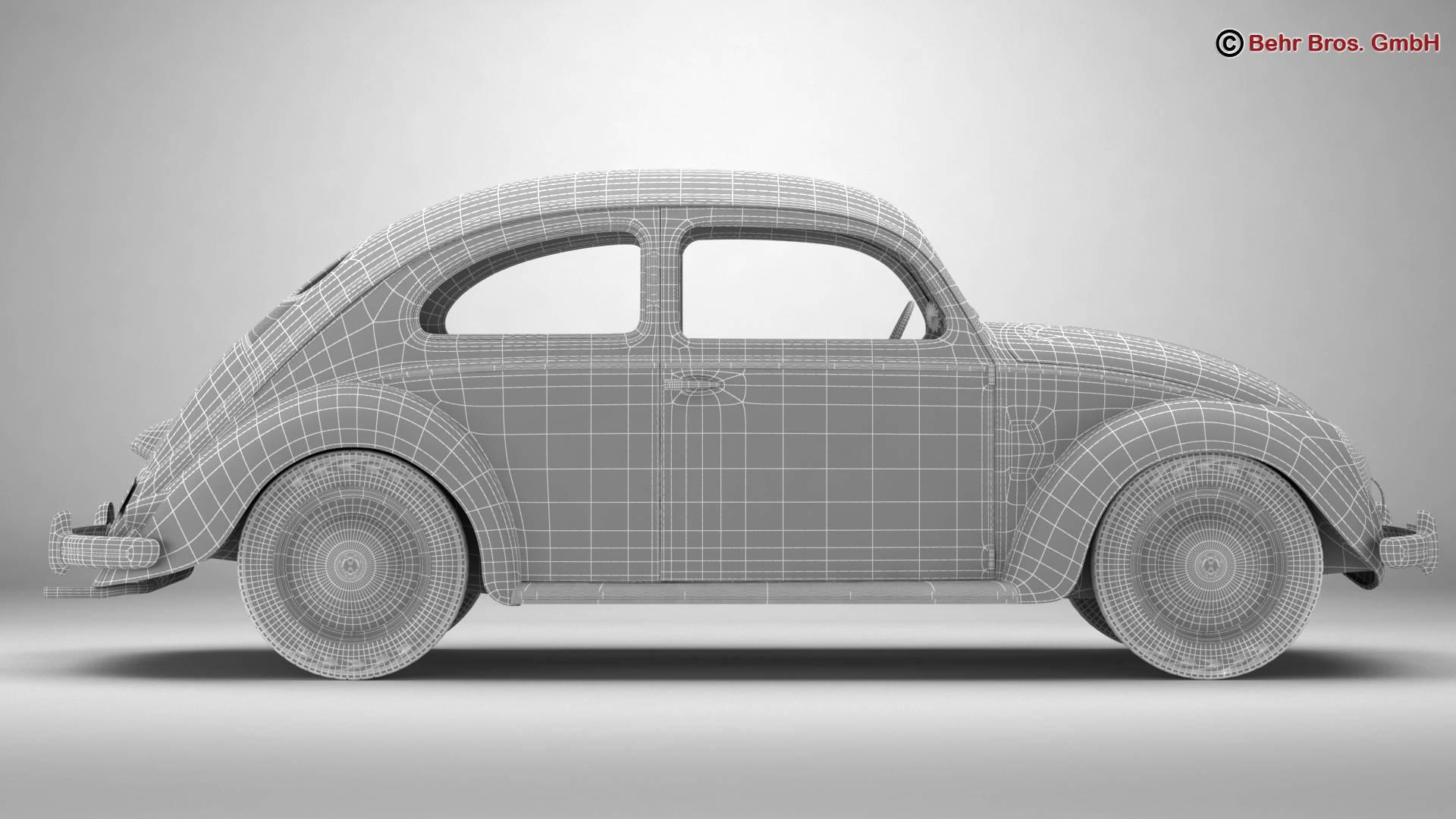 volkswagen beetle 1951 deluxe 3d model 3ds max fbx c4d lwo ma mb obj 220154