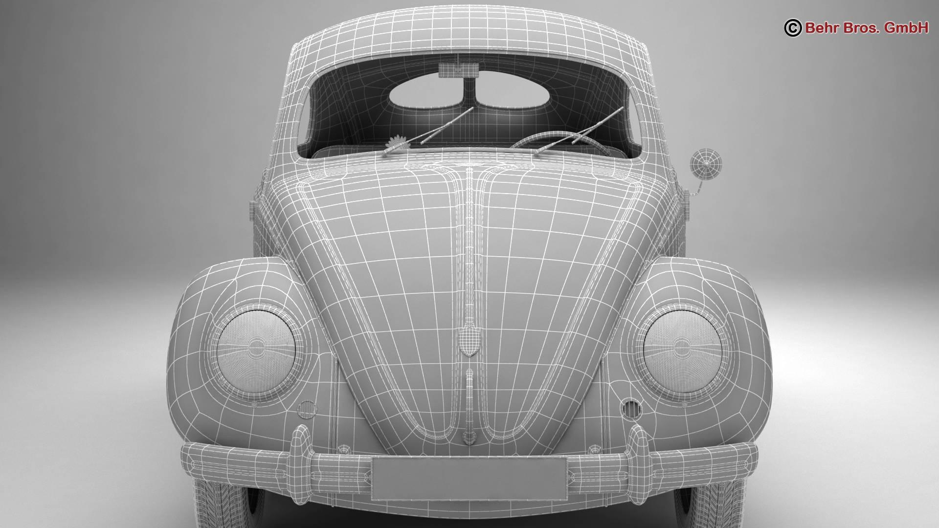 volkswagen beetle 1951 deluxe 3d model 3ds max fbx c4d lwo ma mb obj 220155
