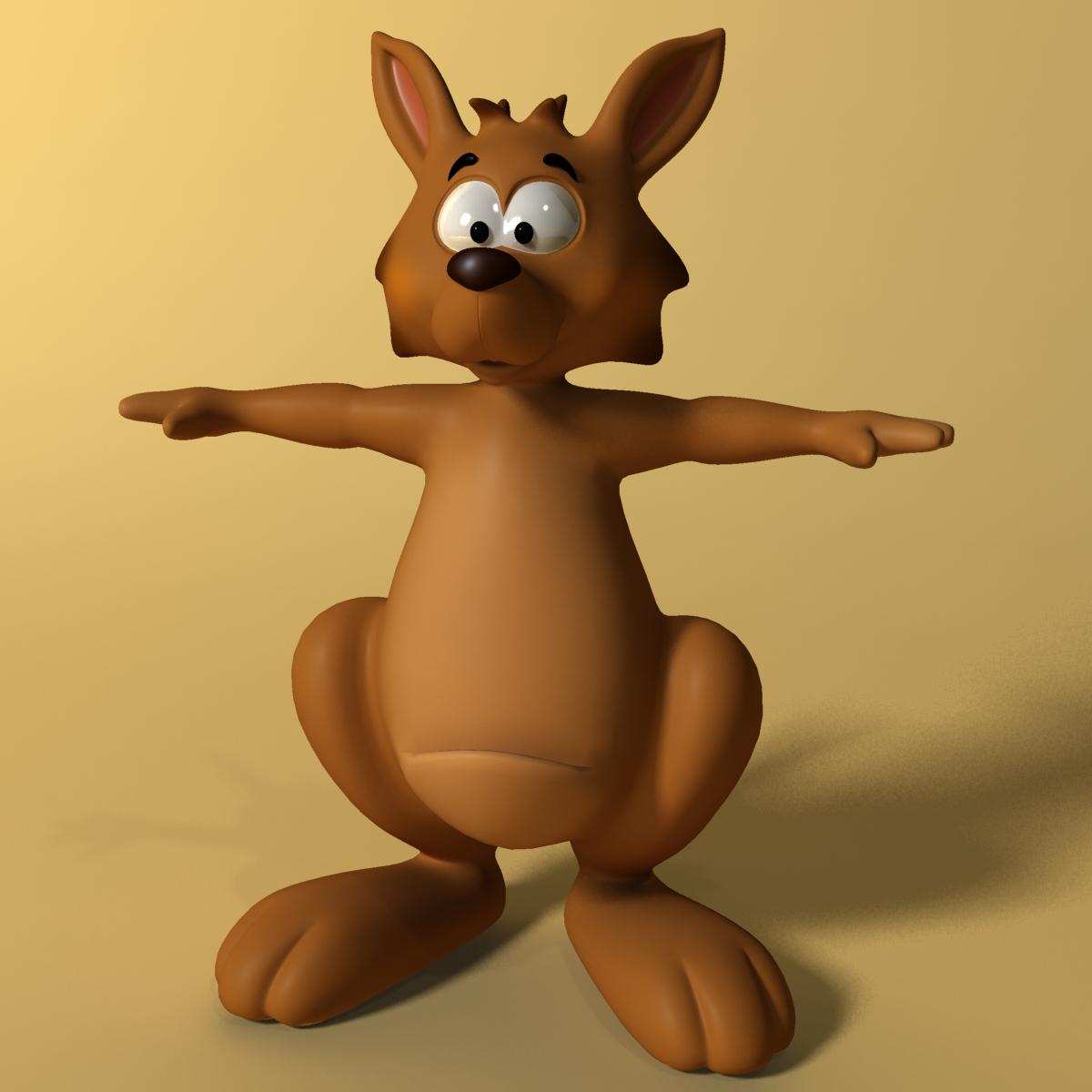 cartoon kangaroo rigged and animated 3d model max fbx  obj 220168