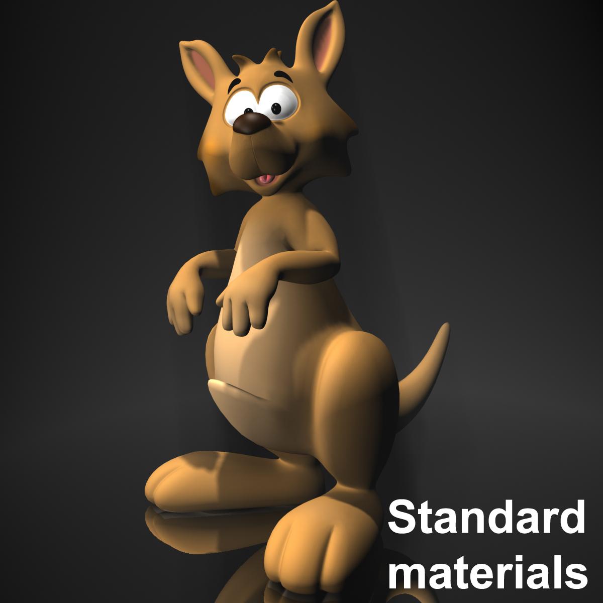 cartoon kangaroo rigged and animated 3d model max fbx  obj 220172