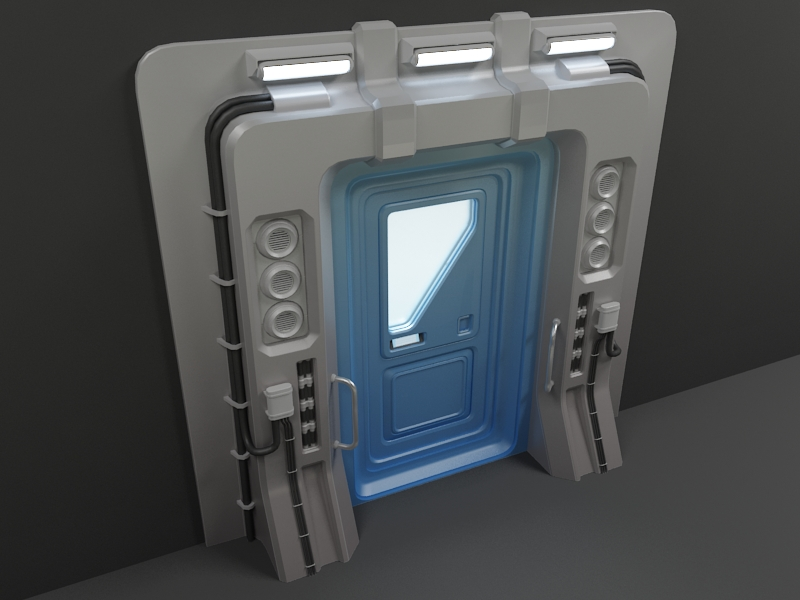 sci-fi door 03 3d model 3ds max fbx obj 220178