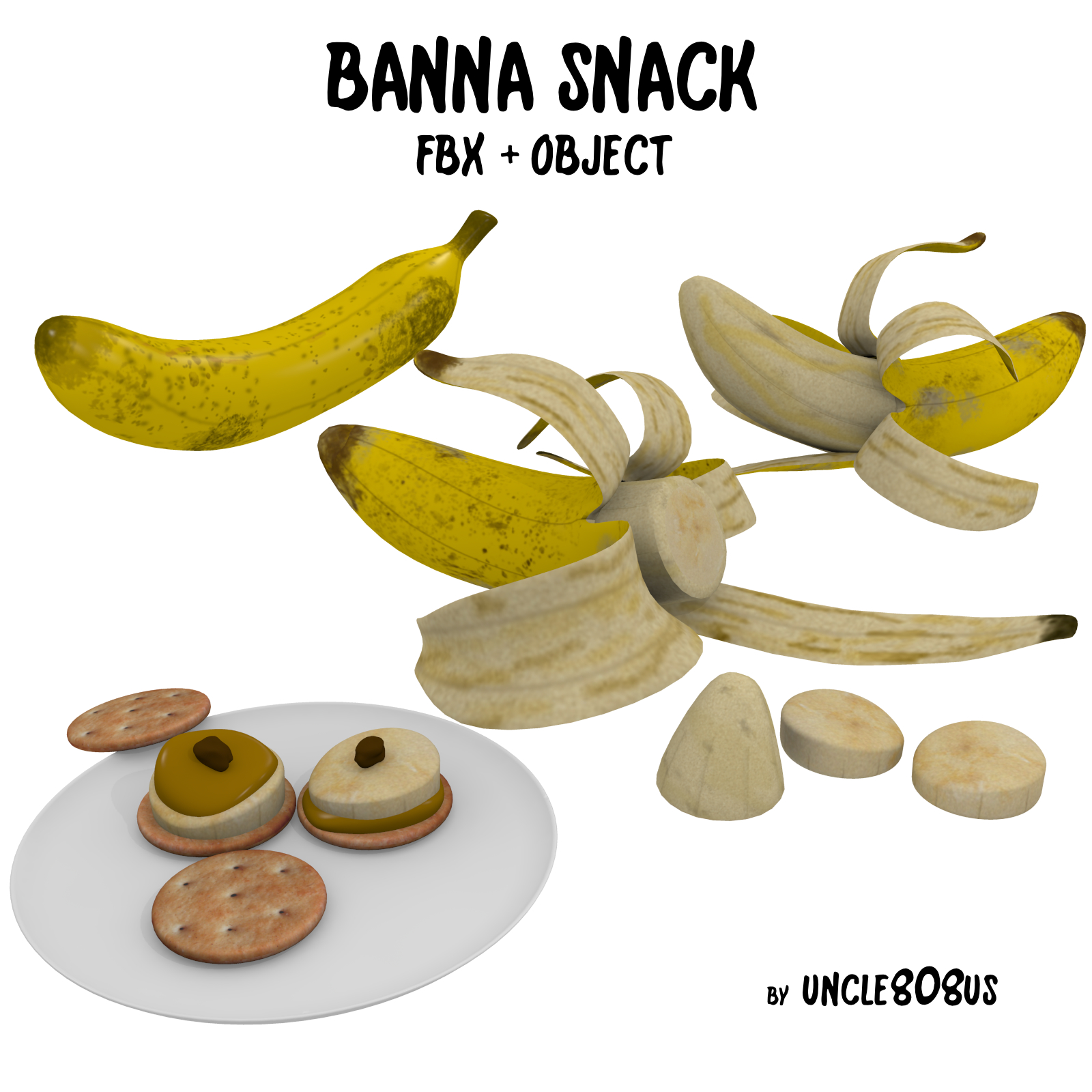 banana snack fbx obj 3d model fbx 220187