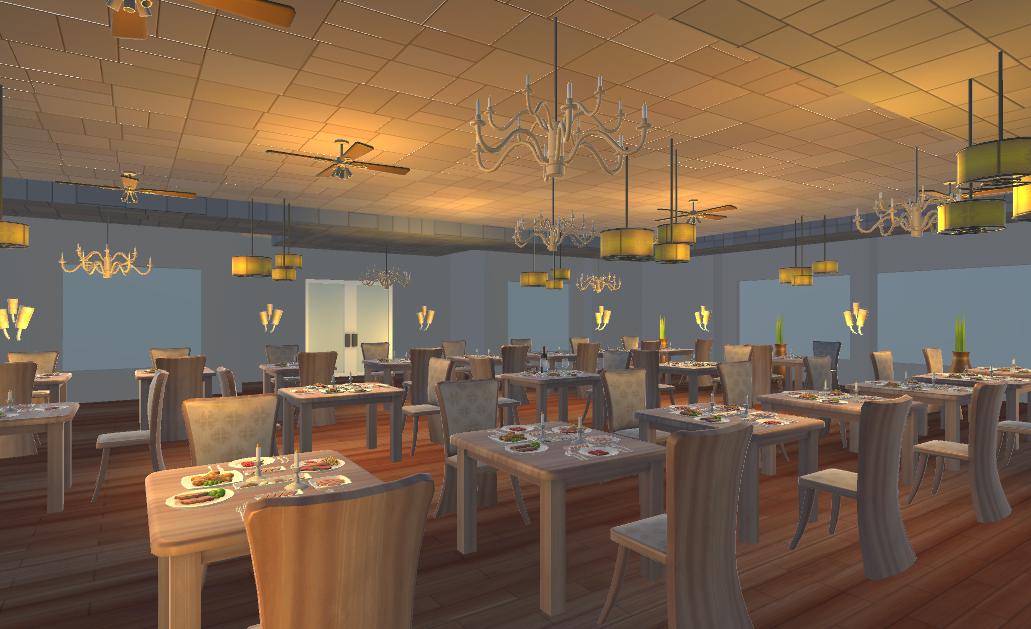 restaurant dining scene 3d model fbx 220223