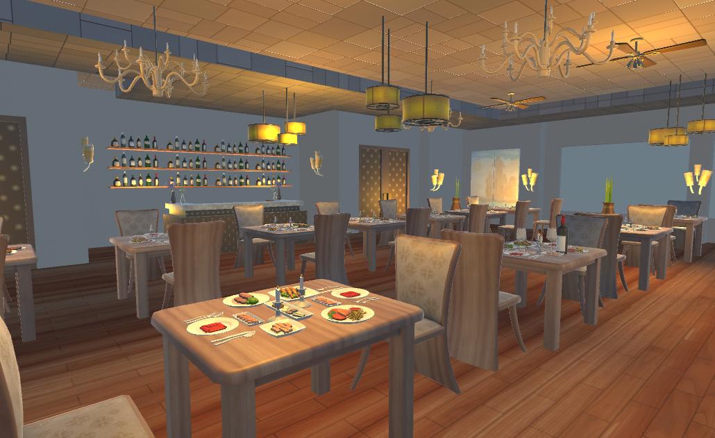 restaurant dining scene 3d model fbx 220224