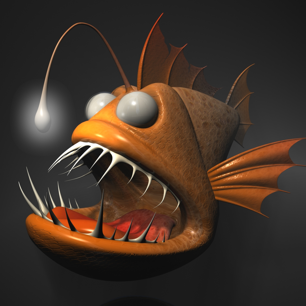 Anglerfish cartoon rigged 3d model 3ds max fbx obj 220234
