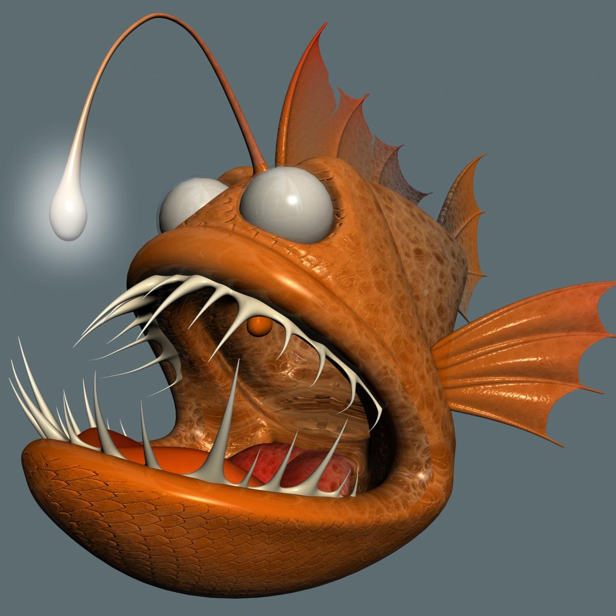 cartoon anglerfish rigged 3d model 3ds max fbx  obj 220235