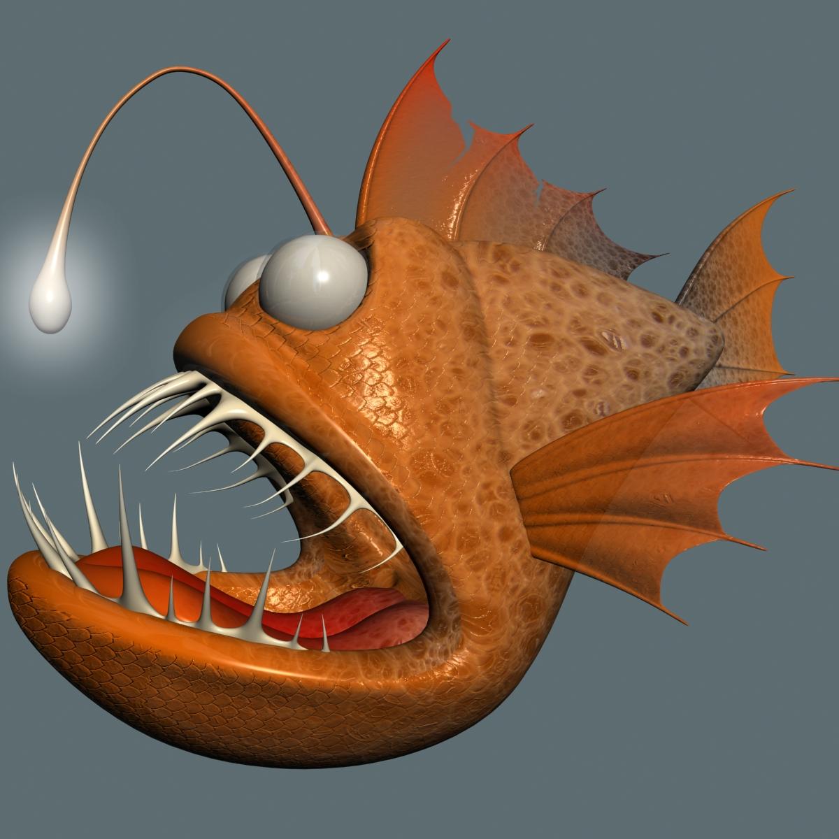 cartoon anglerfish rigged 3d model 3ds max fbx  obj 220236