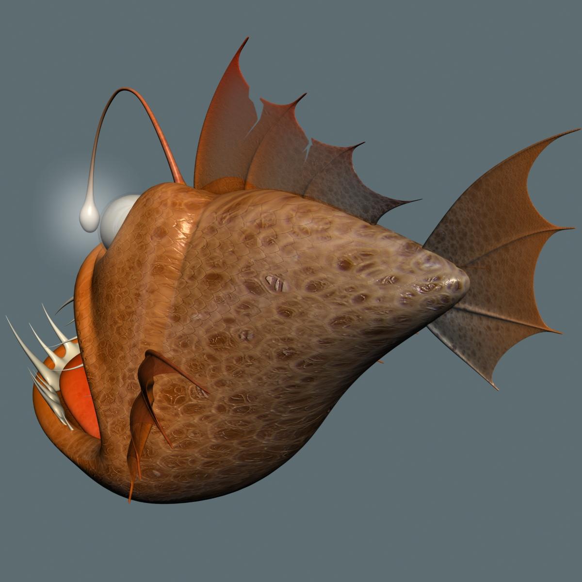 cartoon anglerfish rigged 3d model 3ds max fbx  obj 220237