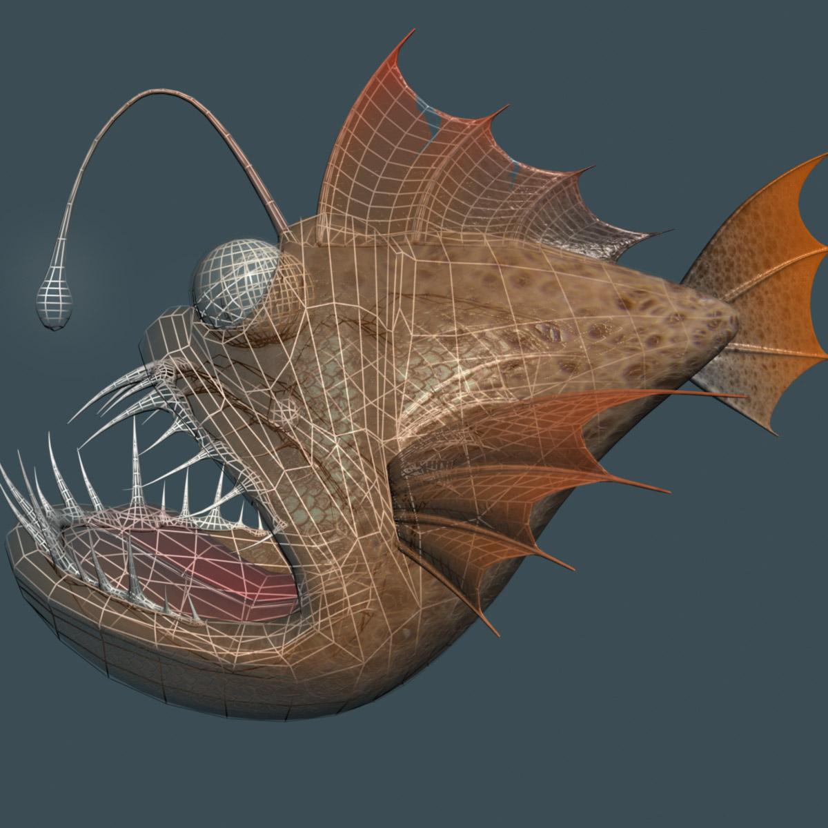 cartoon anglerfish rigged 3d model 3ds max fbx  obj 220238