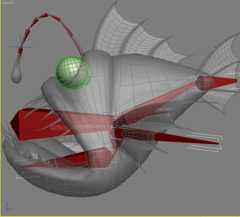 cartoon anglerfish rigged 3d model 3ds max fbx  obj 220240