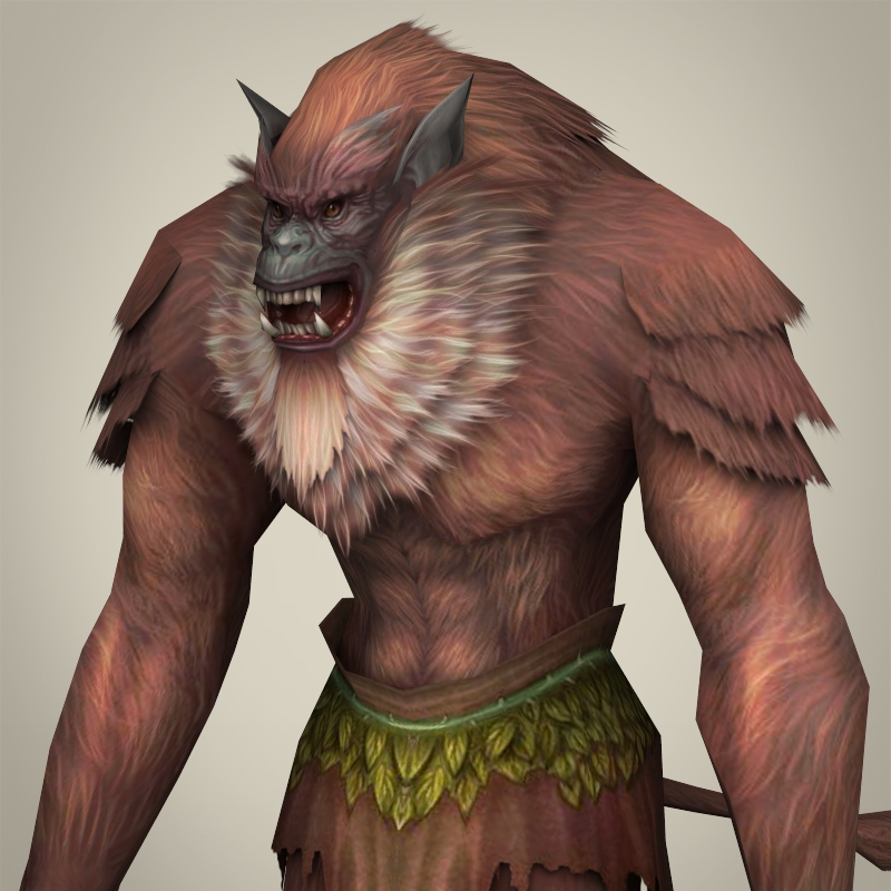 fantasy warrior ape 3d model 3ds max fbx c4d lwo ma mb obj 220255