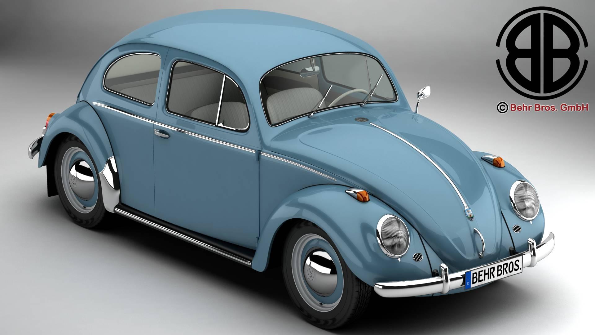 volkswagen beetle 1963 1200 deluxe 3d model 3ds max fbx c4d lwo ma mb obj 220272