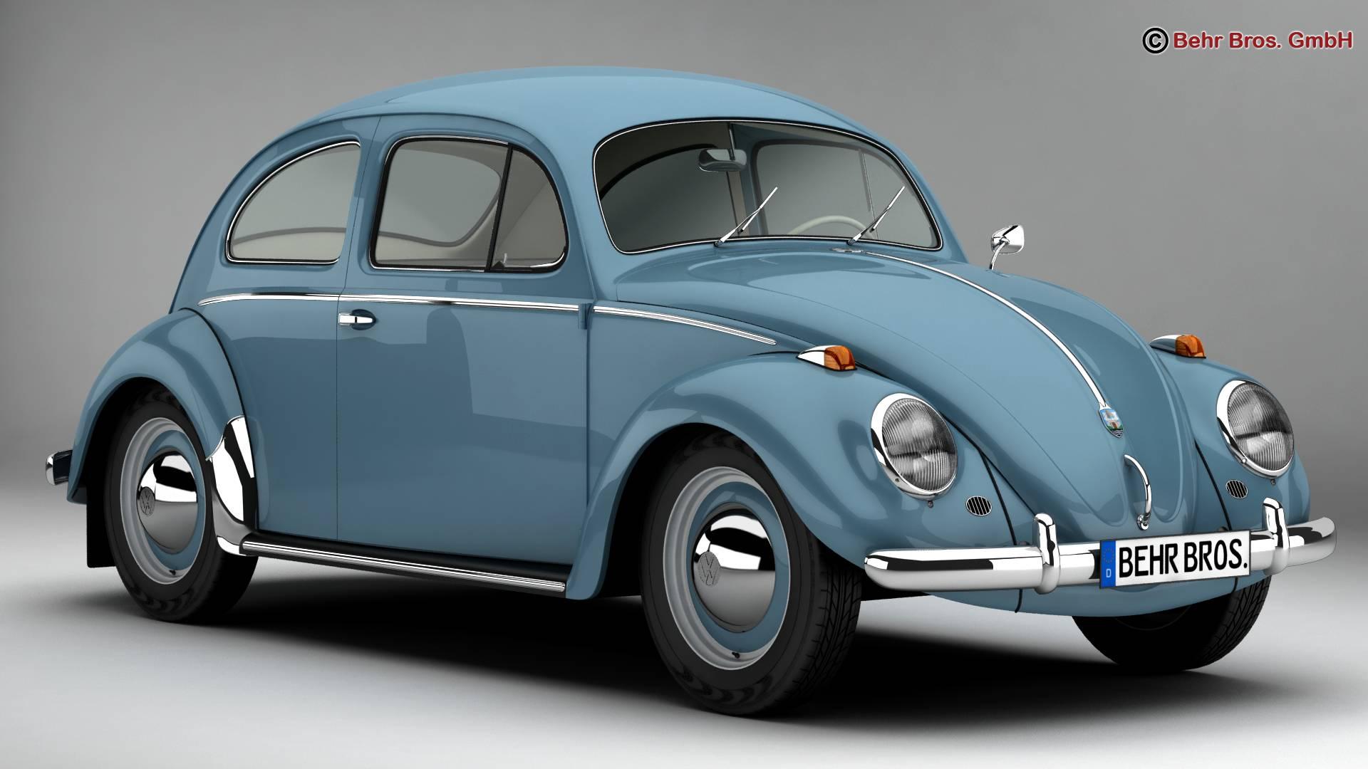 volkswagen beetle 1963 1200 deluxe 3d model 3ds max fbx c4d lwo ma mb obj 220273