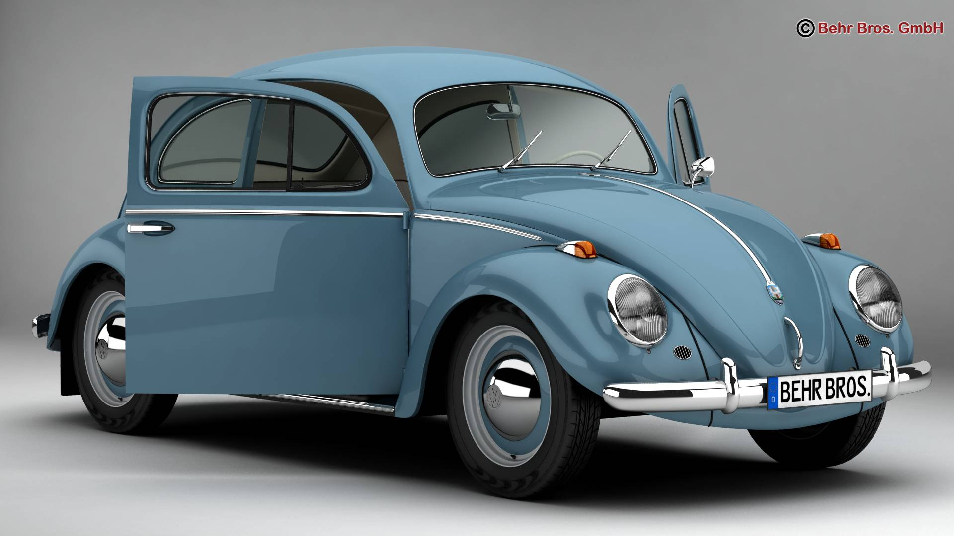 volkswagen beetle 1963 1200 deluxe 3d model 3ds max fbx c4d lwo ma mb obj 220274