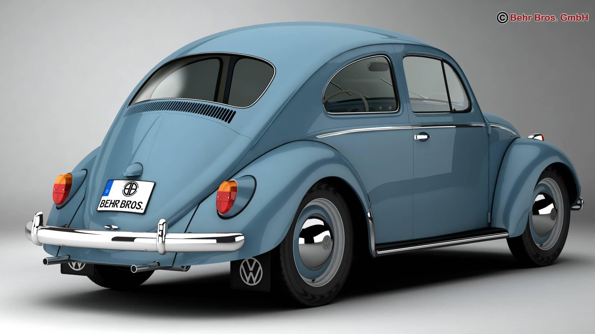 volkswagen beetle 1963 1200 deluxe 3d model 3ds max fbx c4d lwo ma mb obj 220275