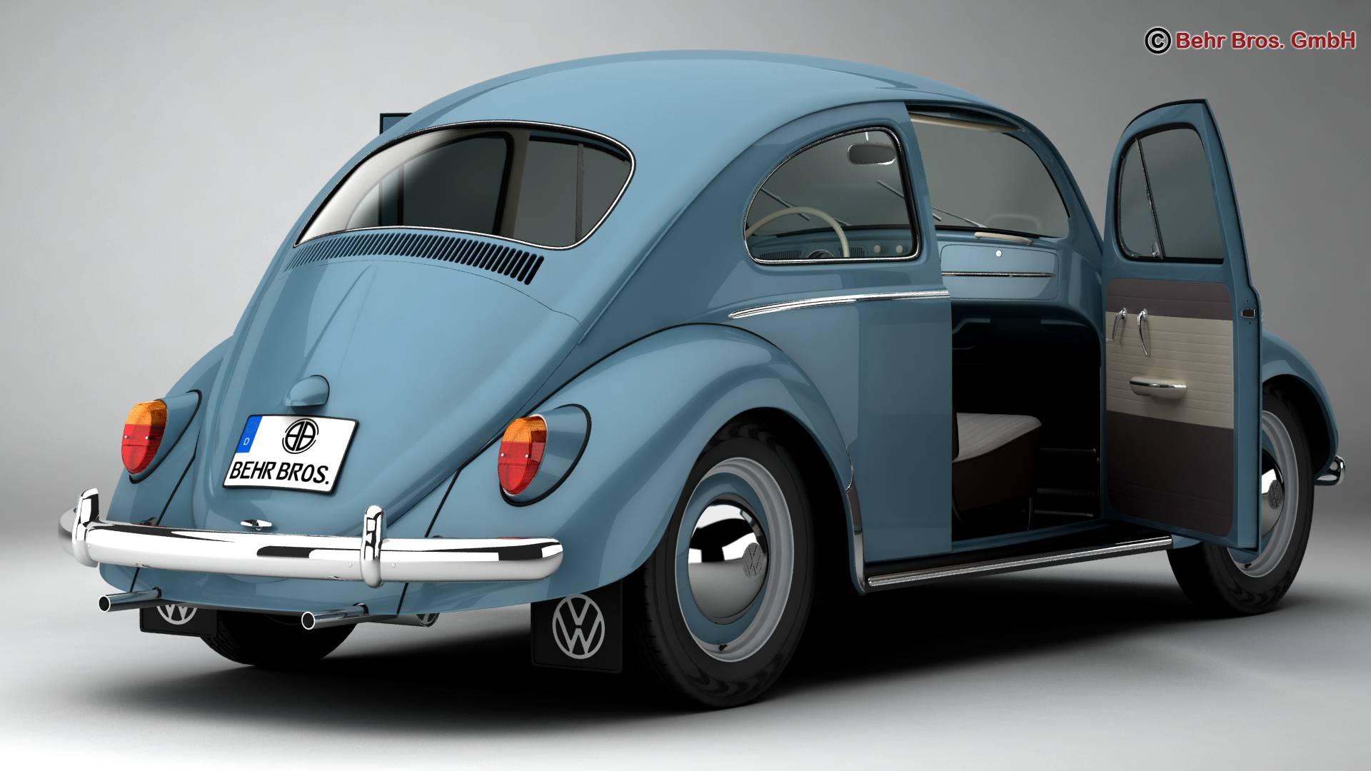 volkswagen beetle 1963 1200 deluxe 3d model 3ds max fbx c4d lwo ma mb obj 220276