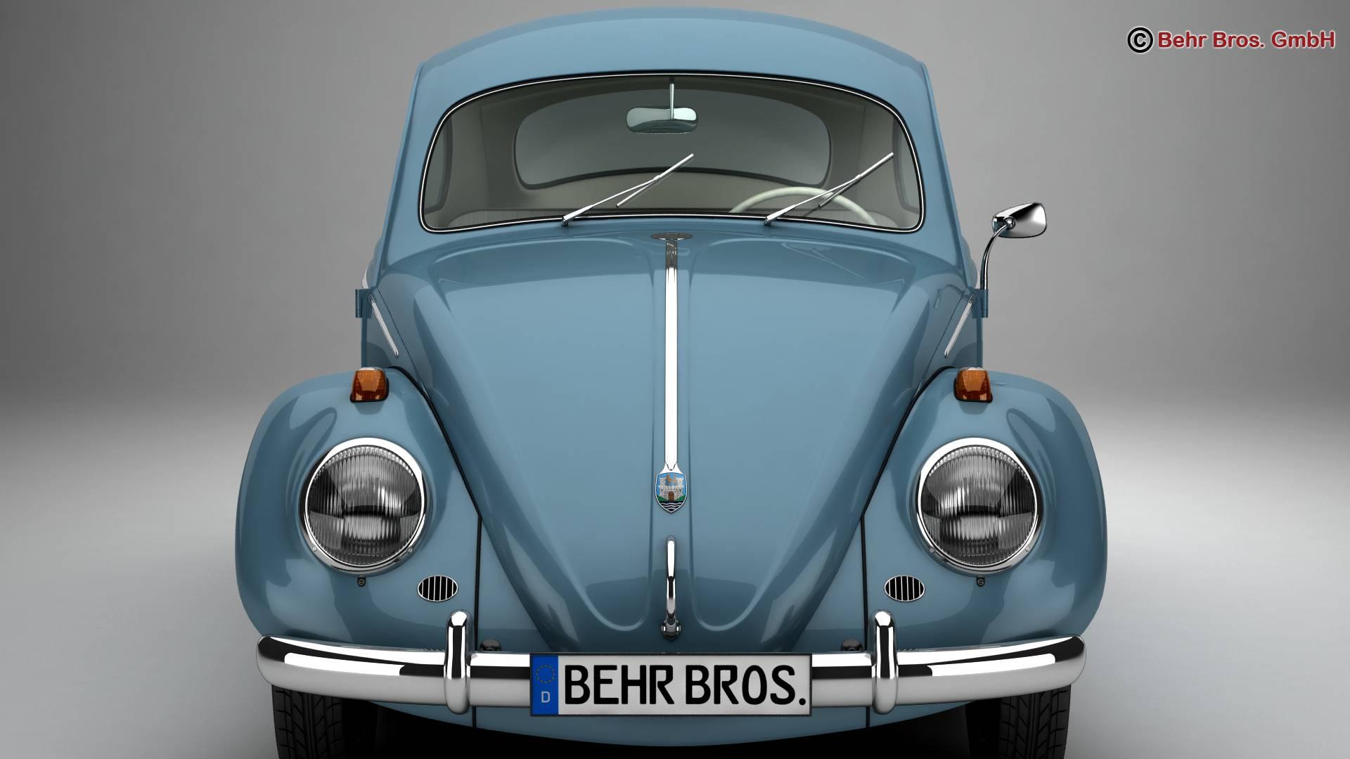 volkswagen beetle 1963 1200 deluxe 3d model 3ds max fbx c4d lwo ma mb obj 220278