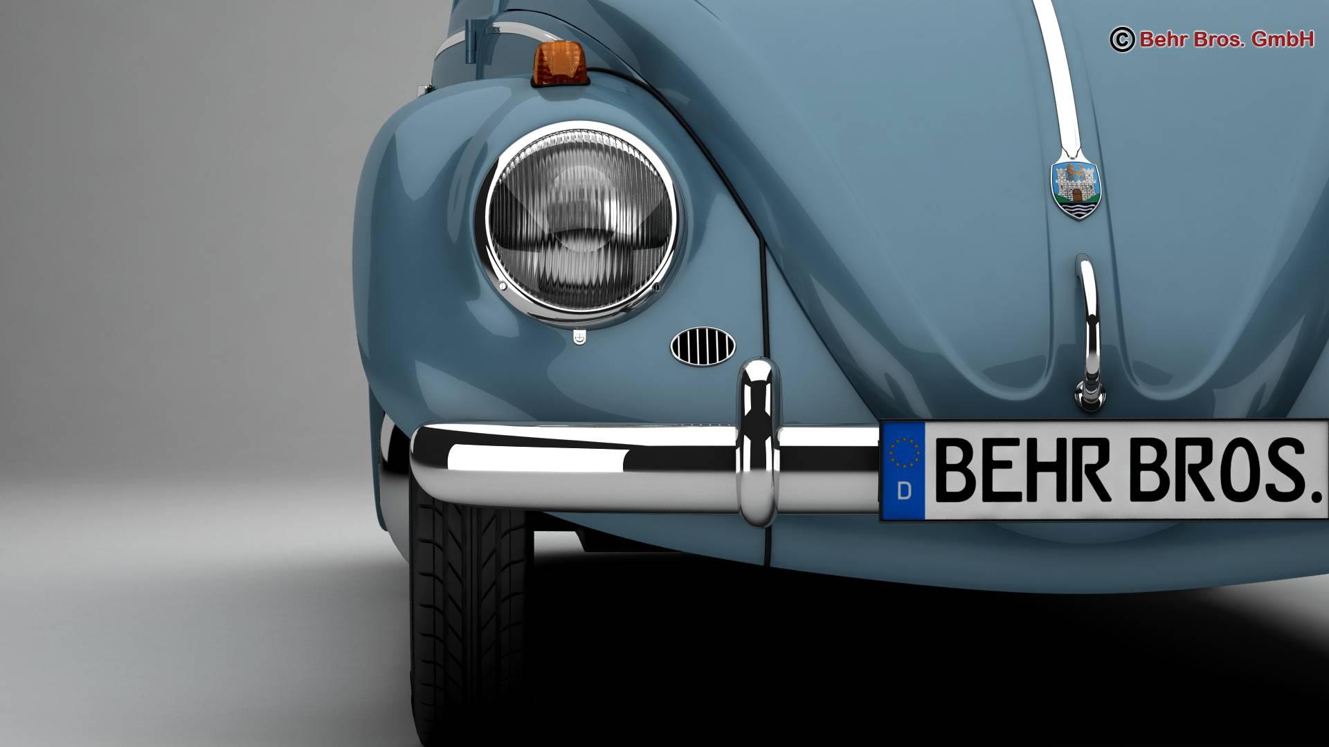 volkswagen beetle 1963 1200 deluxe 3d model 3ds max fbx c4d lwo ma mb obj 220279