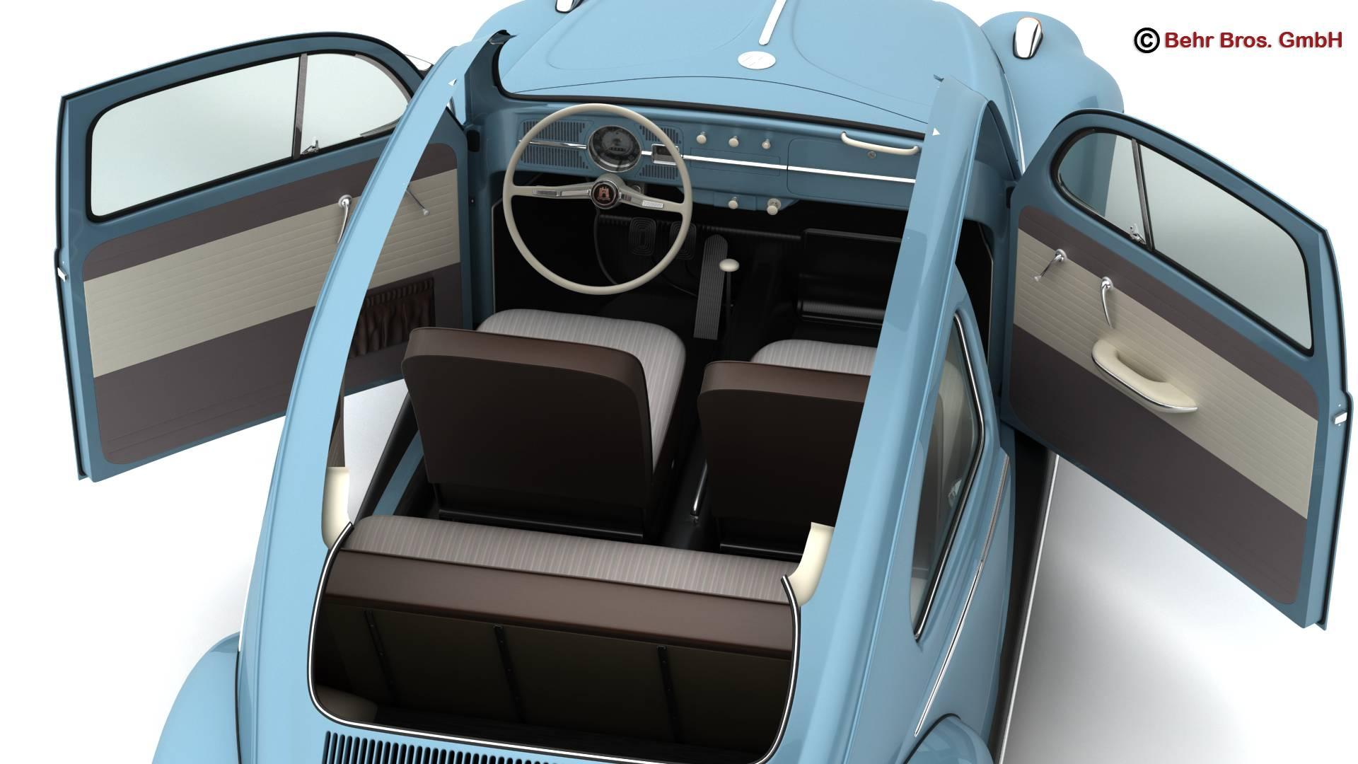 volkswagen beetle 1963 1200 deluxe 3d model 3ds max fbx c4d lwo ma mb obj 220284