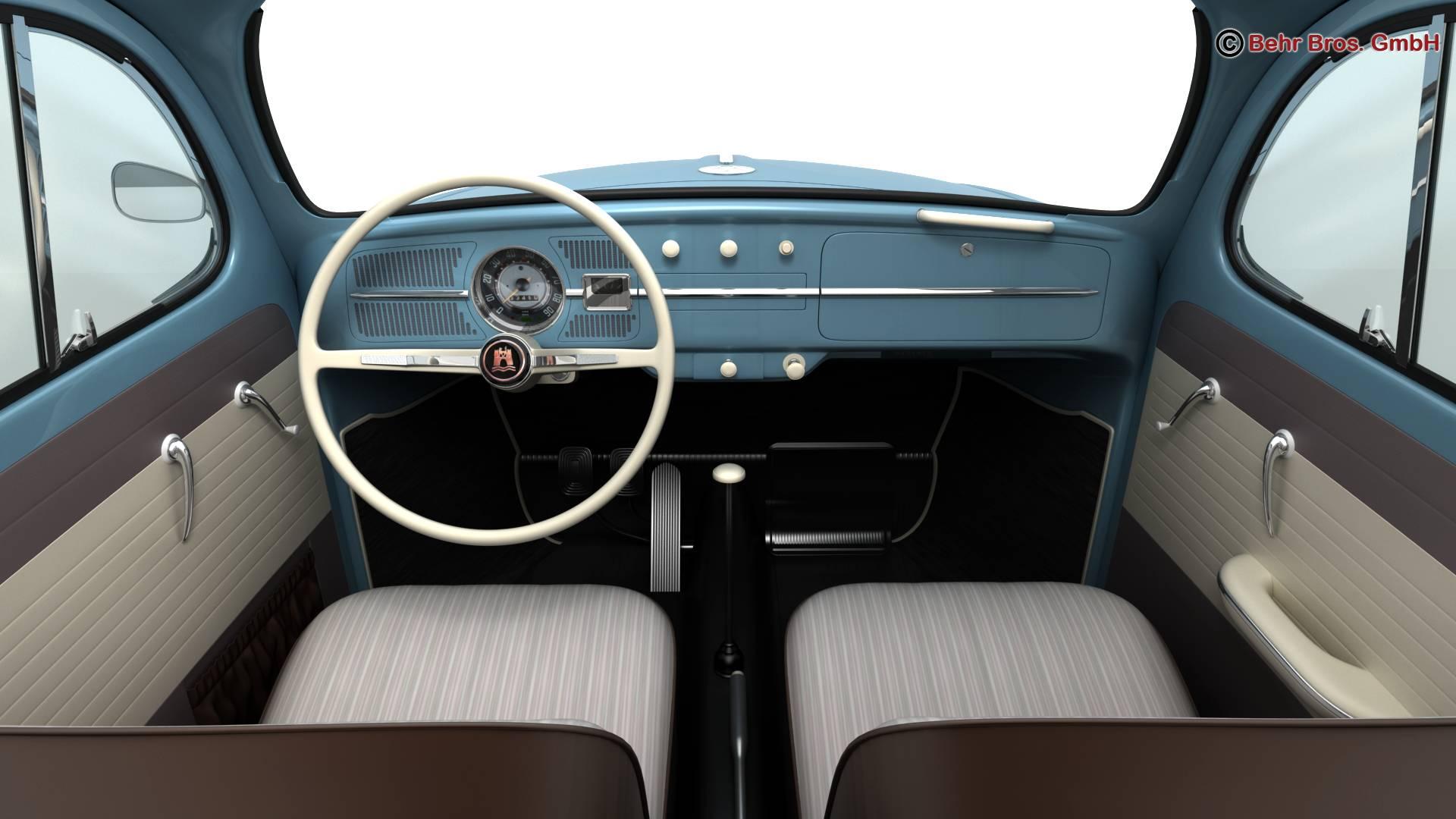 volkswagen beetle 1963 1200 deluxe 3d model 3ds max fbx c4d lwo ma mb obj 220285
