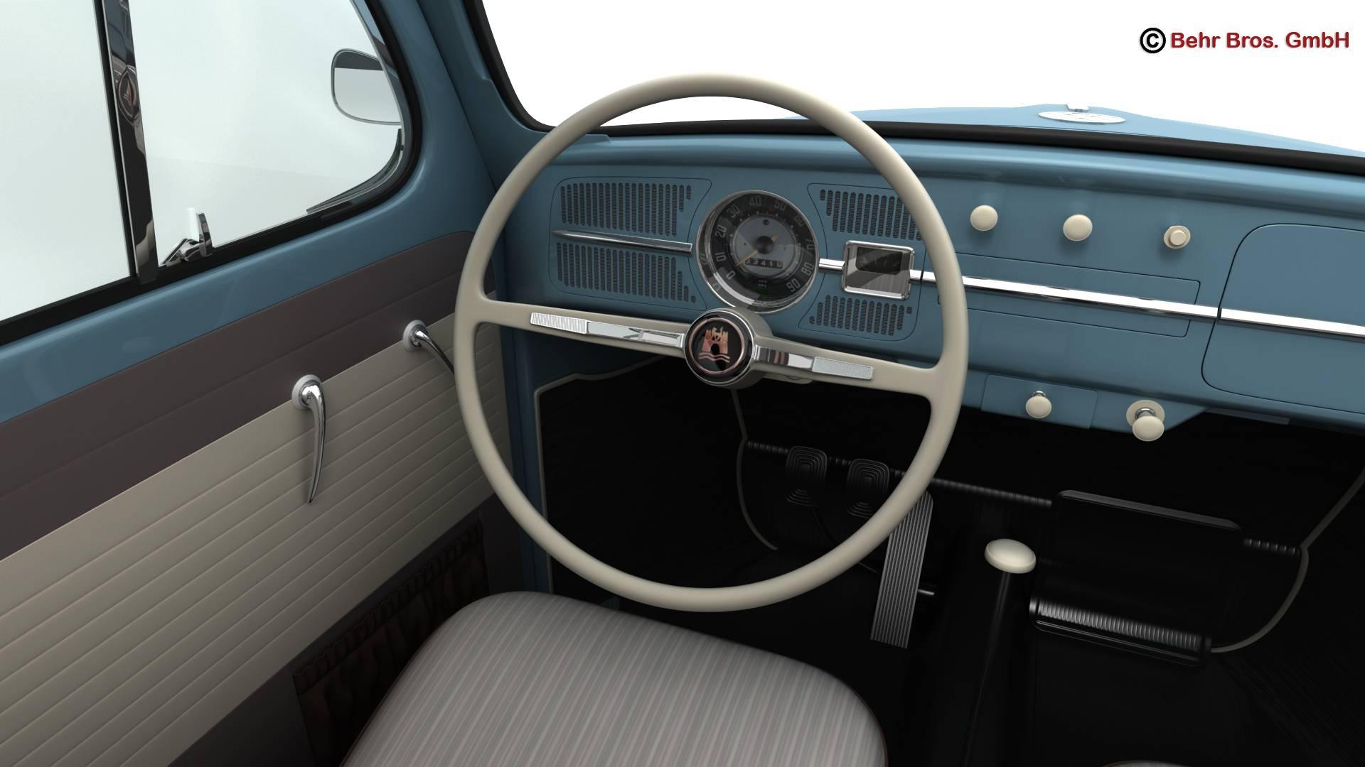 volkswagen beetle 1963 1200 deluxe 3d model 3ds max fbx c4d lwo ma mb obj 220286