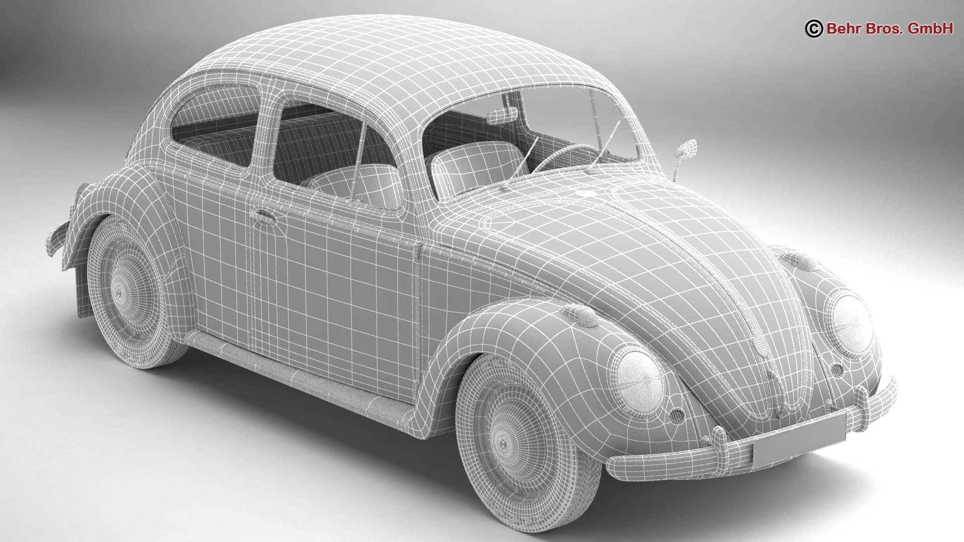volkswagen beetle 1963 1200 deluxe 3d model 3ds max fbx c4d lwo ma mb obj 220287