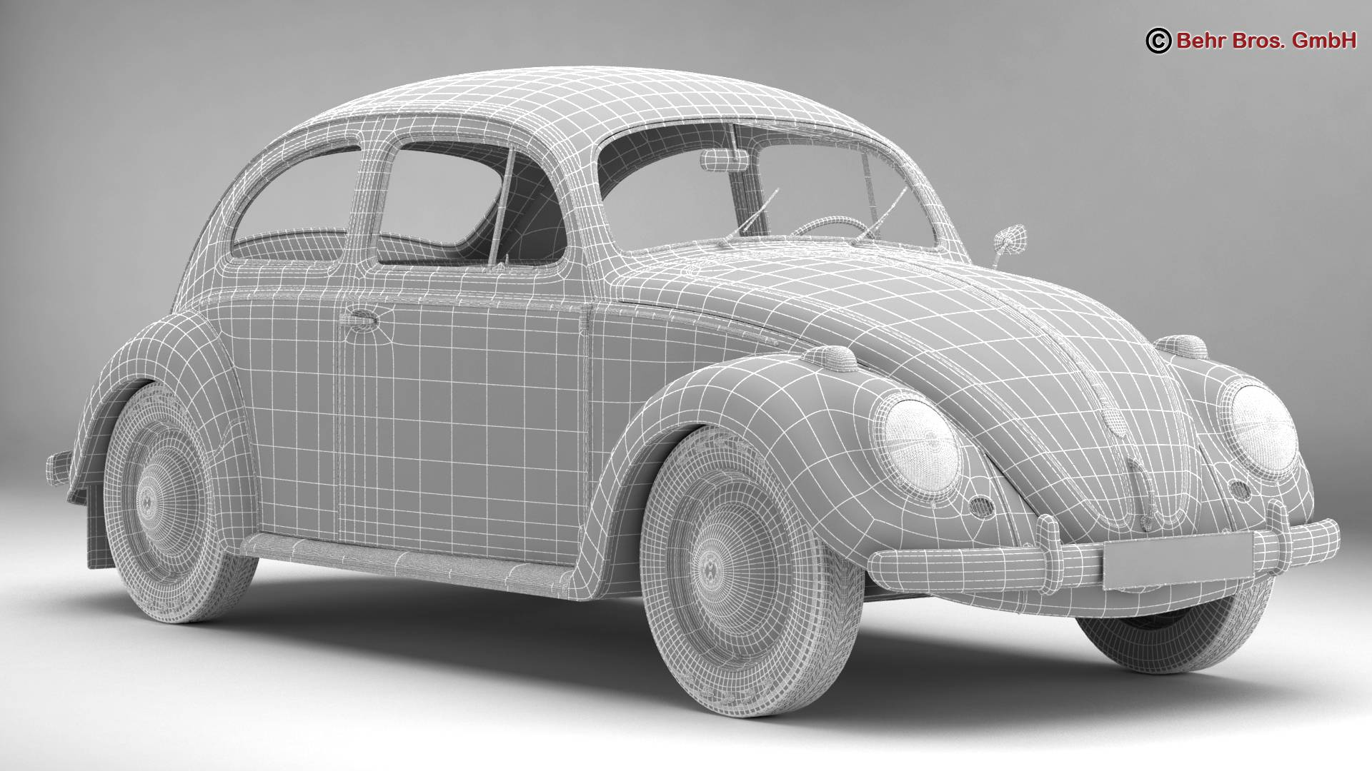 volkswagen beetle 1963 1200 deluxe 3d model 3ds max fbx c4d lwo ma mb obj 220288