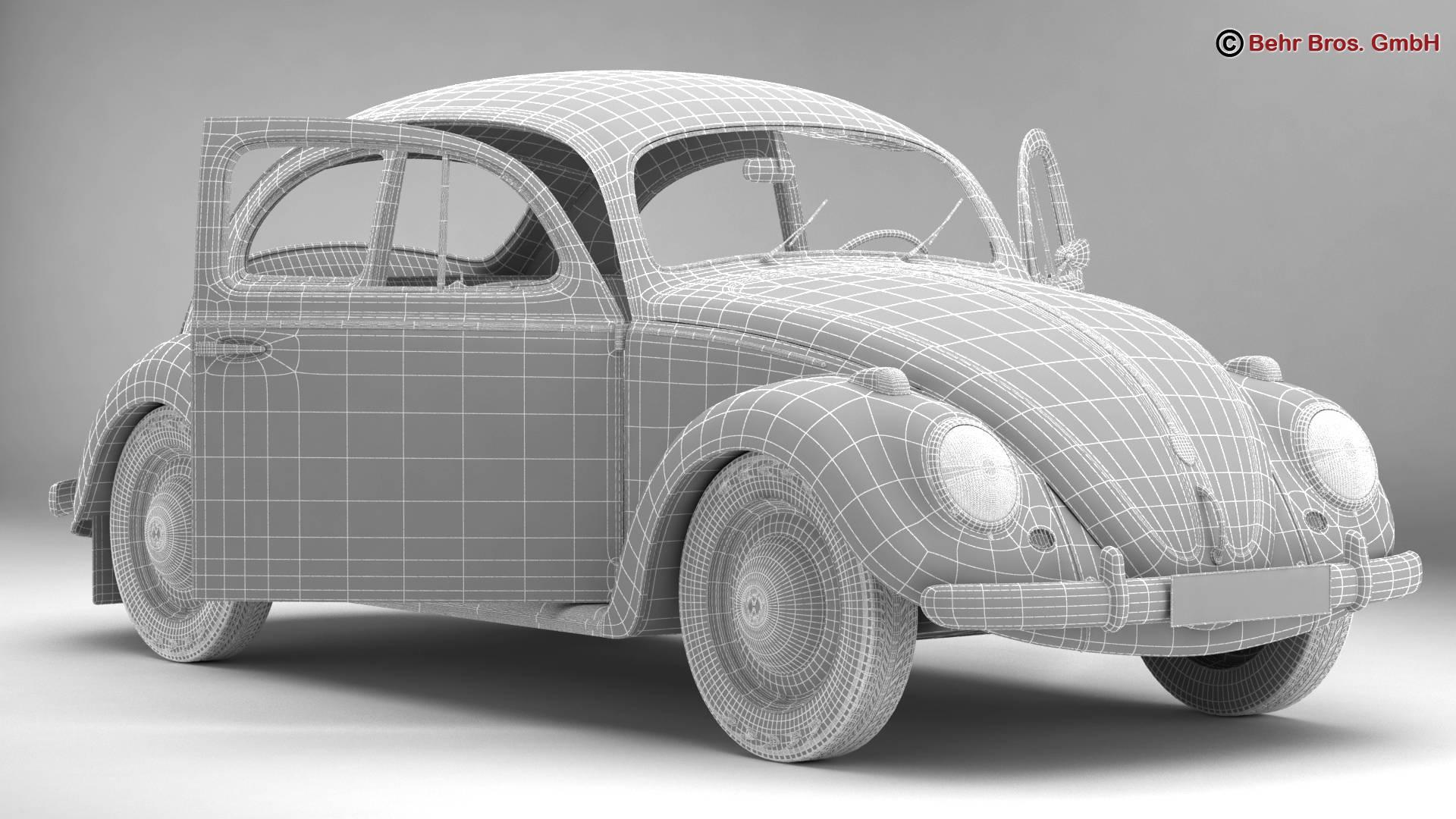 volkswagen beetle 1963 1200 deluxe 3d model 3ds max fbx c4d lwo ma mb obj 220289