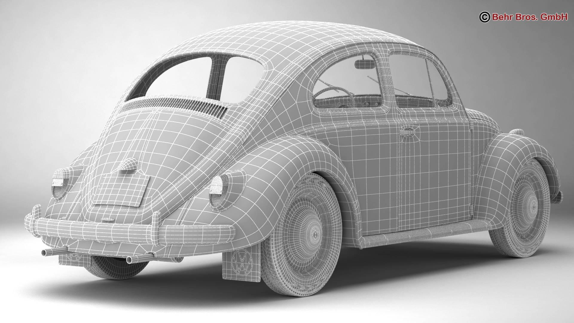 volkswagen beetle 1963 1200 deluxe 3d model 3ds max fbx c4d lwo ma mb obj 220290