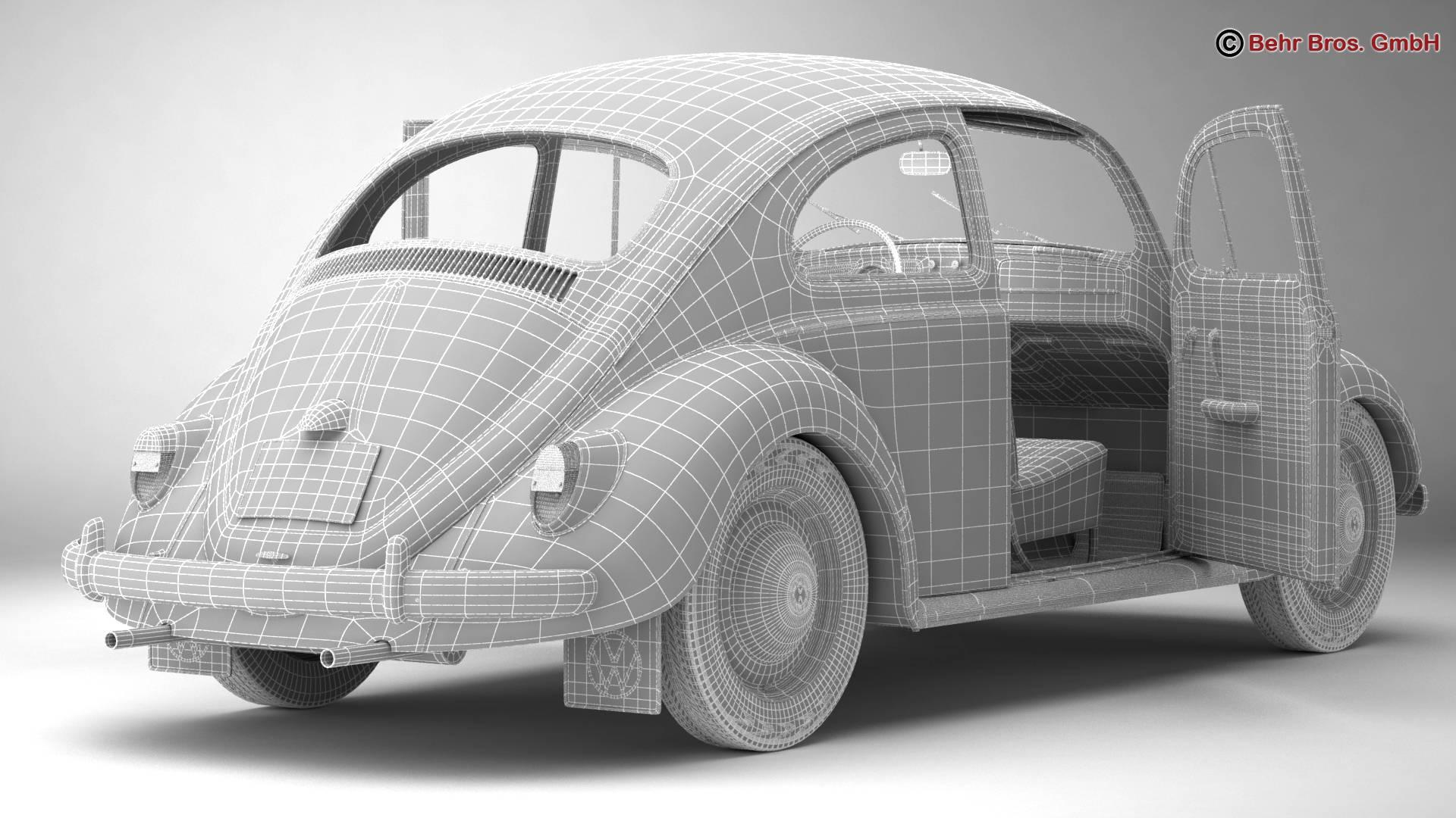 volkswagen beetle 1963 1200 deluxe 3d model 3ds max fbx c4d lwo ma mb obj 220291