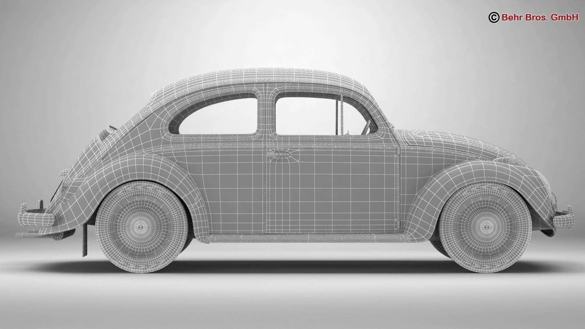 volkswagen beetle 1963 1200 deluxe 3d model 3ds max fbx c4d lwo ma mb obj 220292