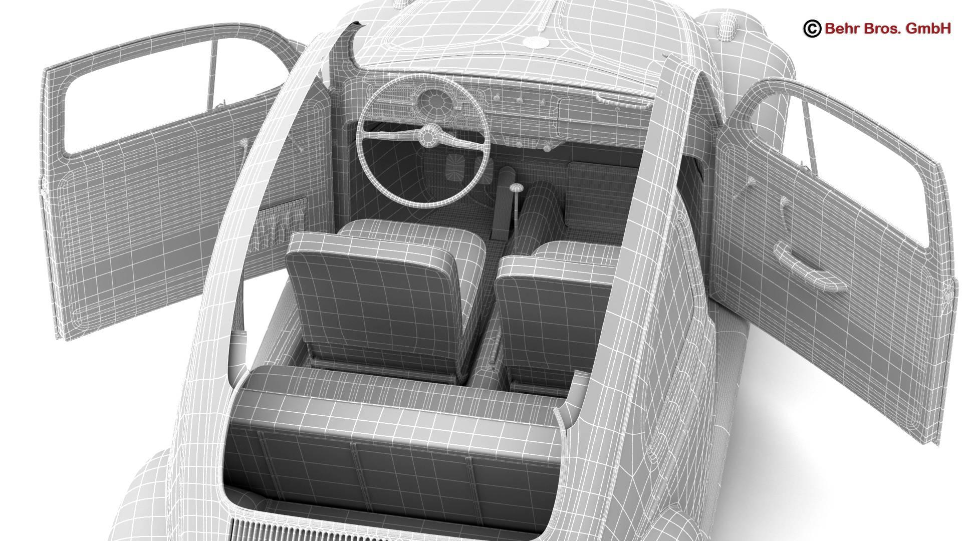 volkswagen beetle 1963 1200 deluxe 3d model 3ds max fbx c4d lwo ma mb obj 220299
