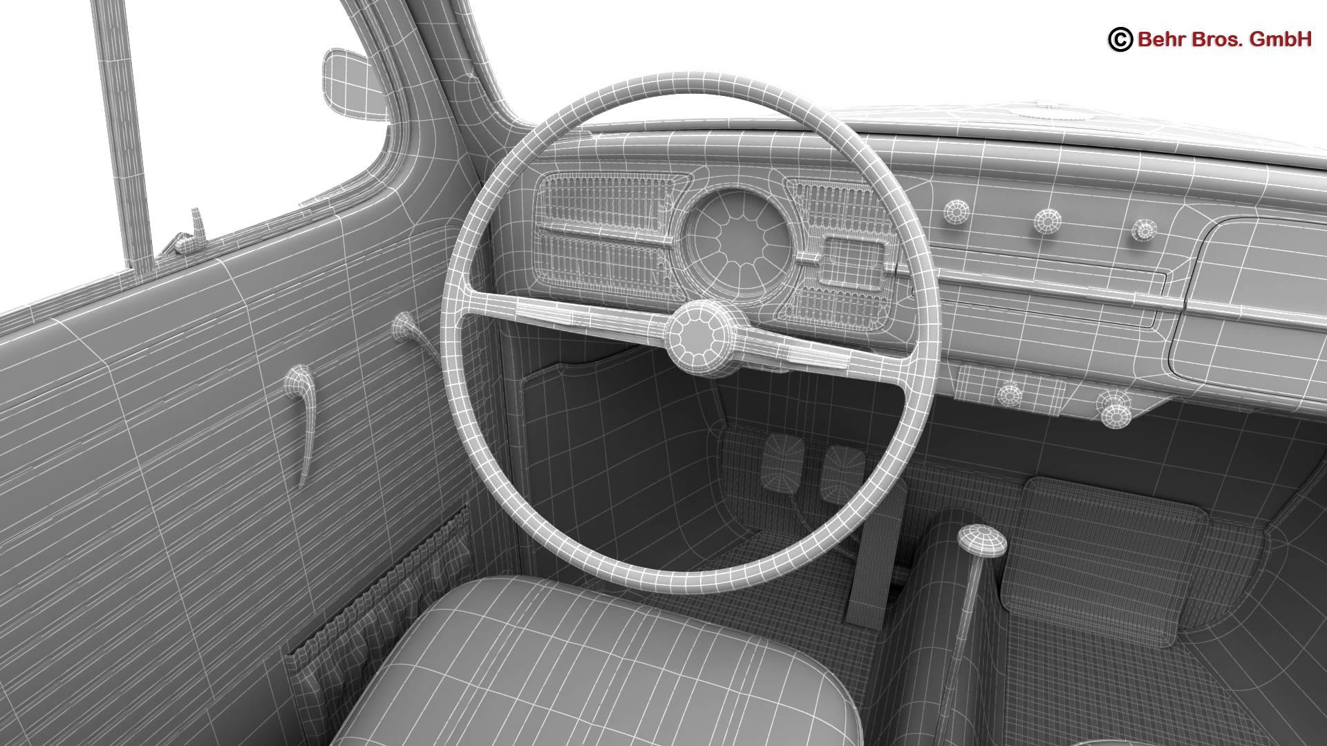 volkswagen beetle 1963 1200 deluxe 3d model 3ds max fbx c4d lwo ma mb obj 220301
